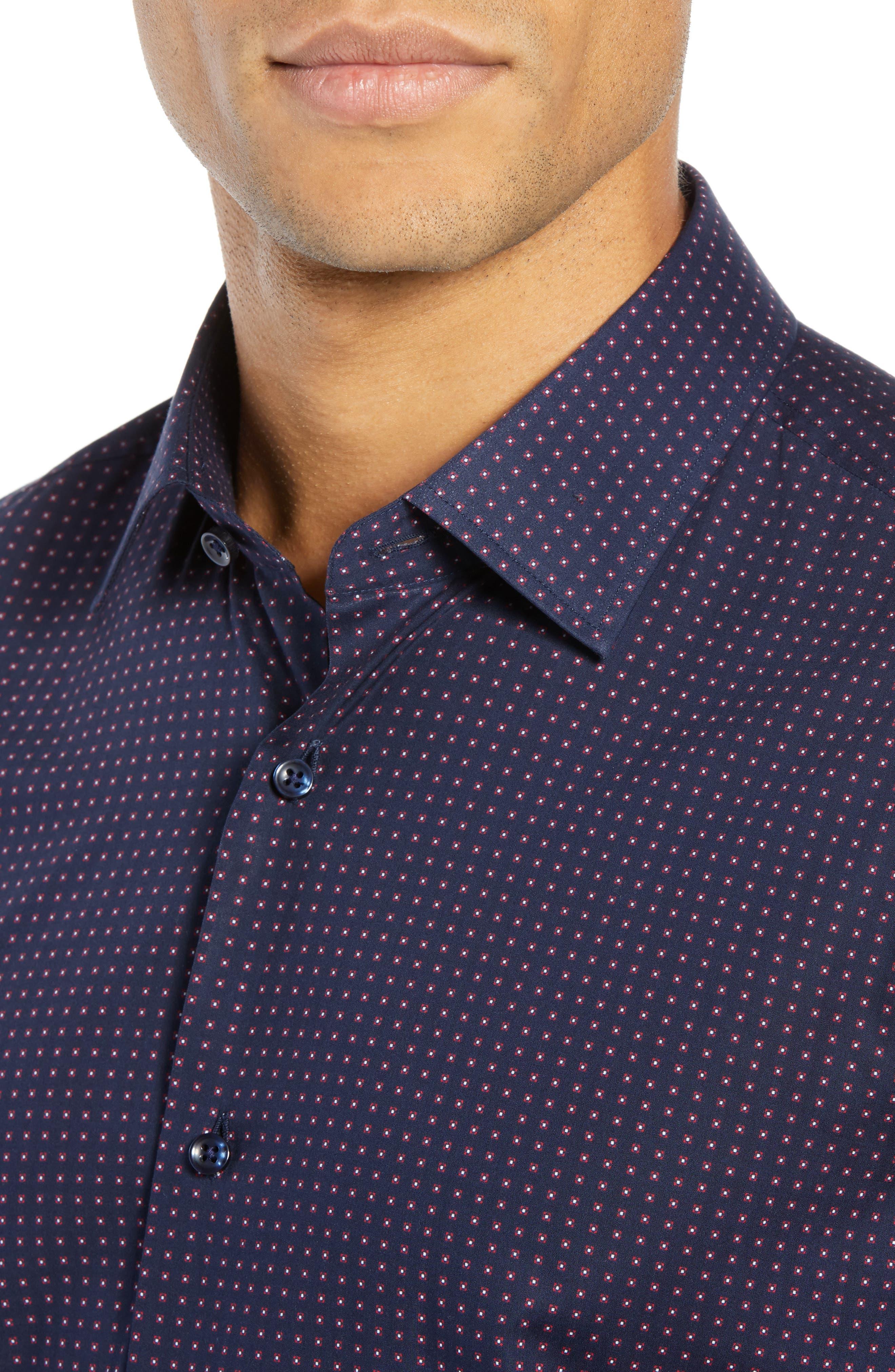 Jenno Slim Fit Dot Dress Shirt,                             Alternate thumbnail 2, color,                             NAVY