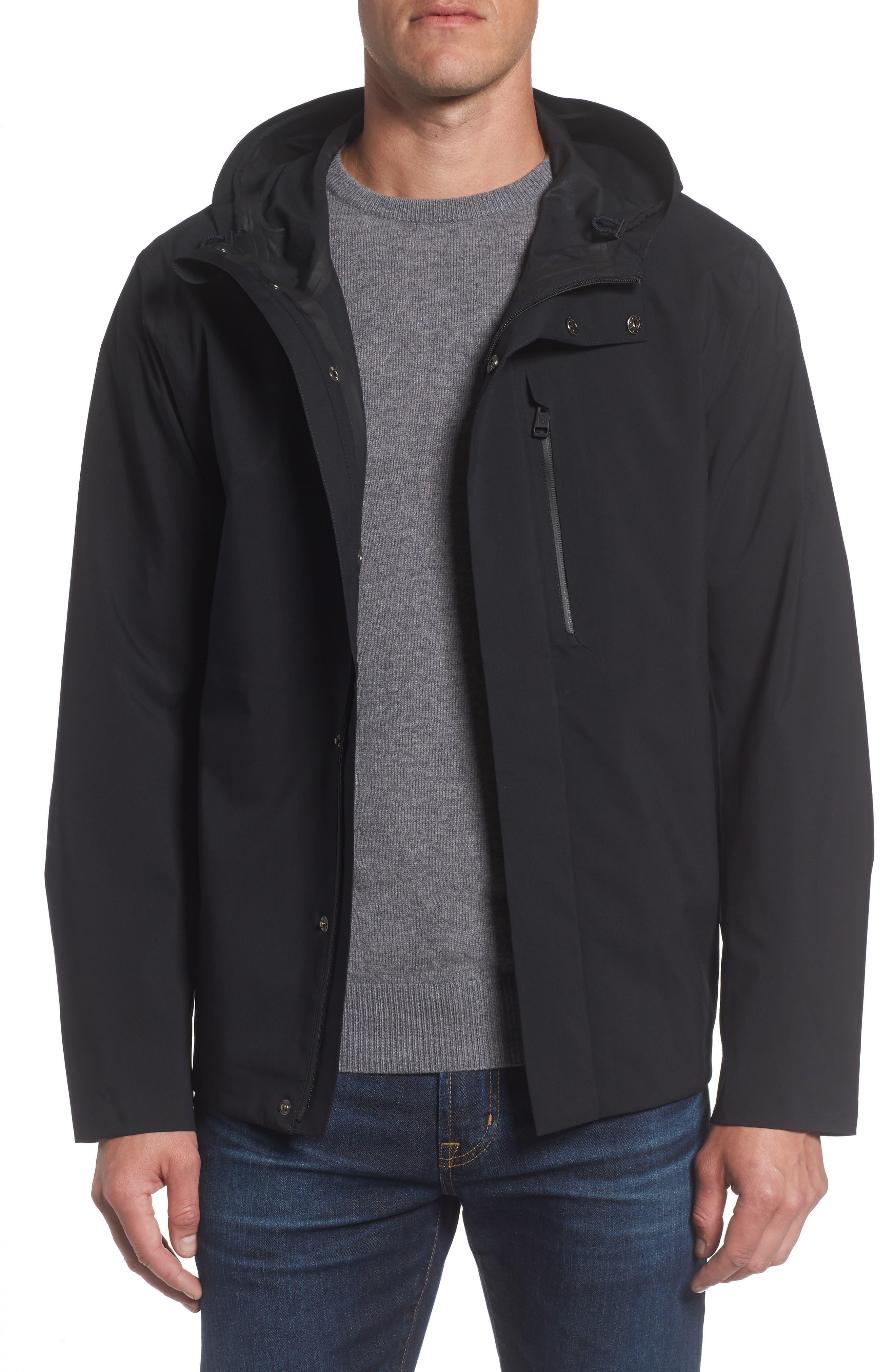 Marc New York Stratus Waterproof Hooded Rain Jacket,                         Main,                         color, 001
