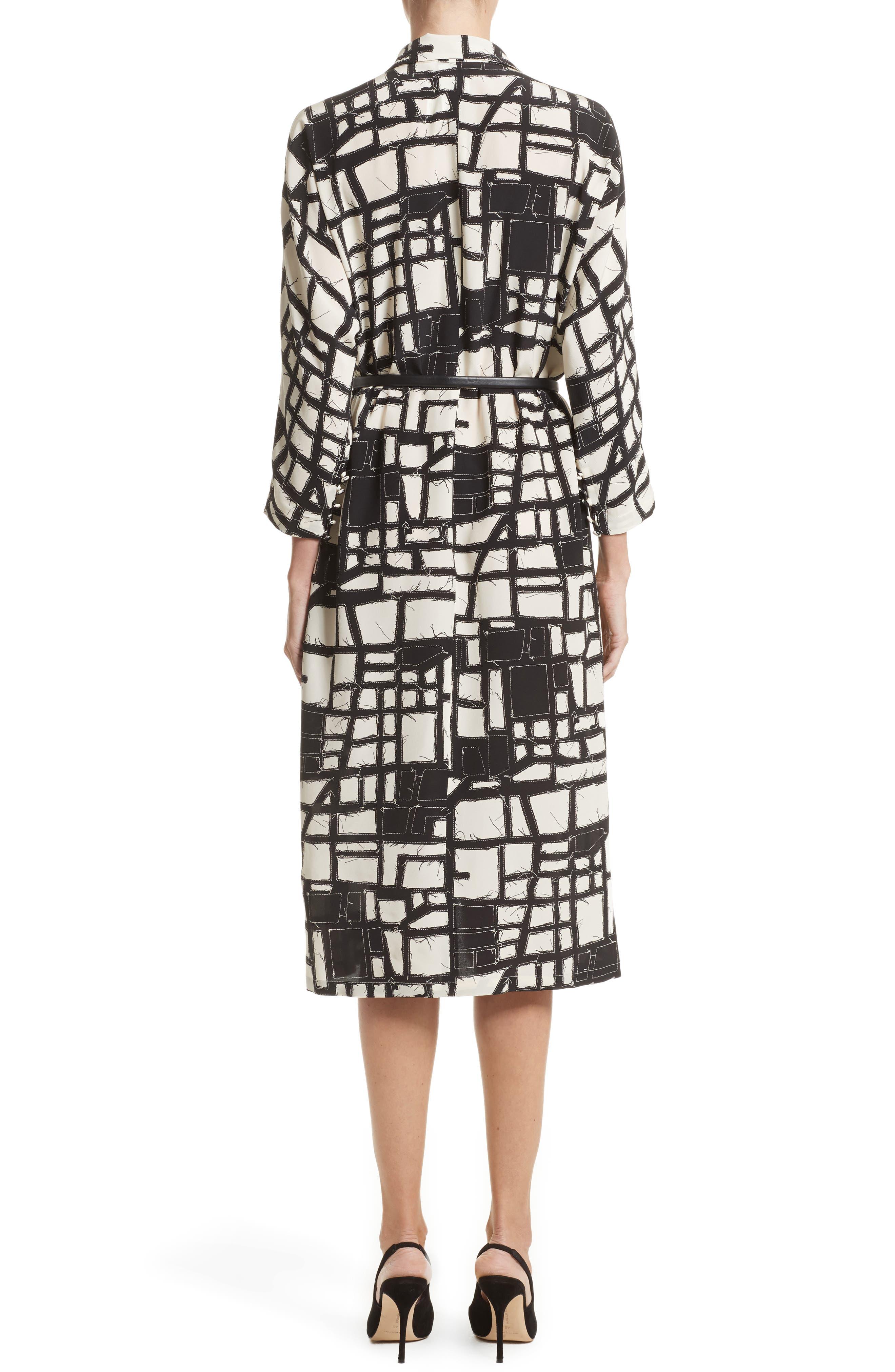 Aligi Print Silk Dress,                             Alternate thumbnail 2, color,