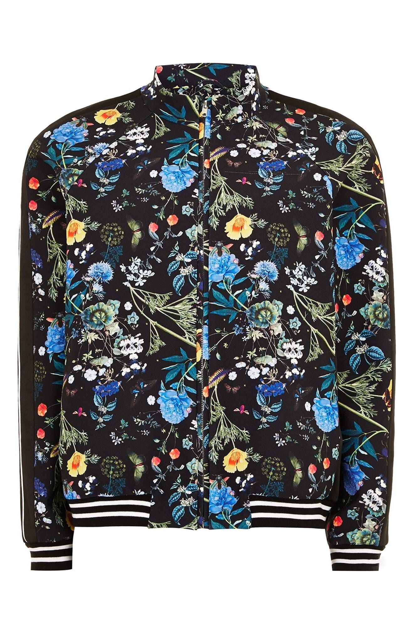 Floral Track Jacket,                             Alternate thumbnail 4, color,                             BLACK MULTI