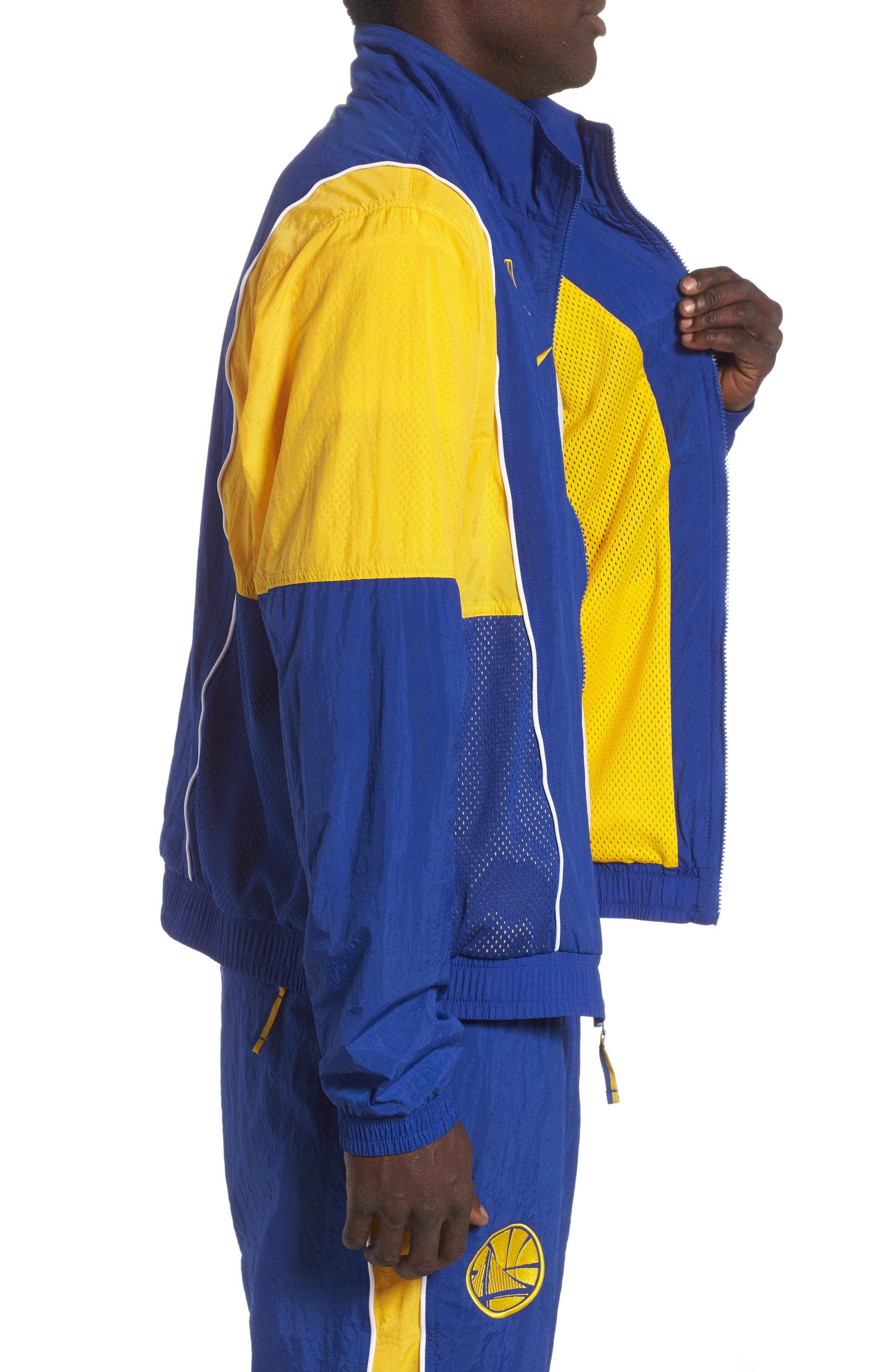 Golden State Warriors Track Jacket,                             Alternate thumbnail 3, color,                             RUSH BLUE/ AMARILLO/ WHITE