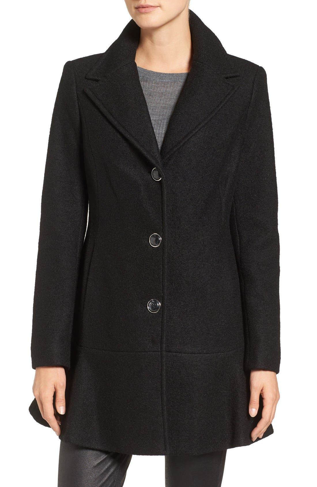 Removable Faux Fur Collar Skirted Coat,                             Alternate thumbnail 4, color,                             001