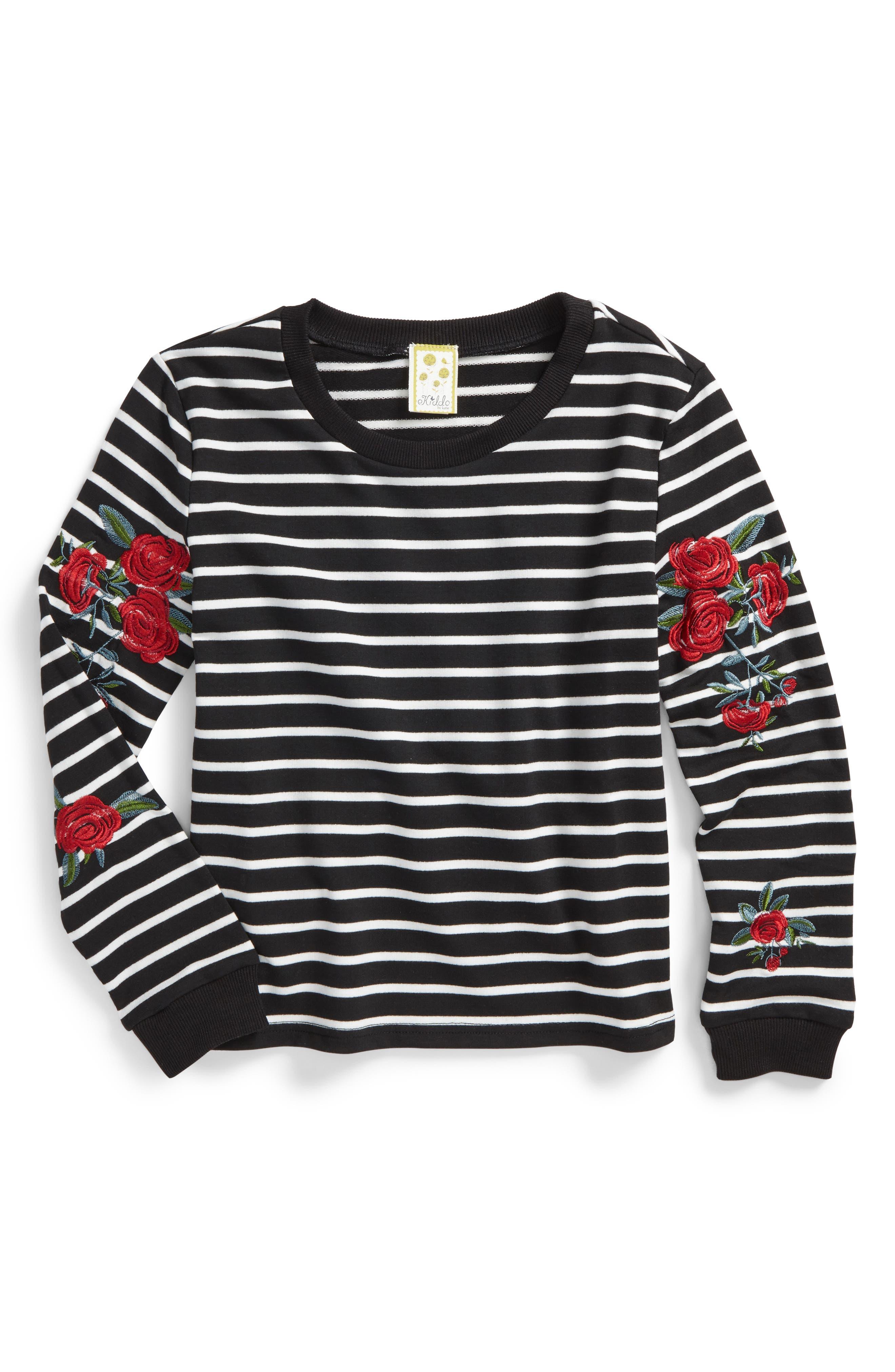 Embroidered Stripe Sweatshirt,                             Main thumbnail 1, color,                             001