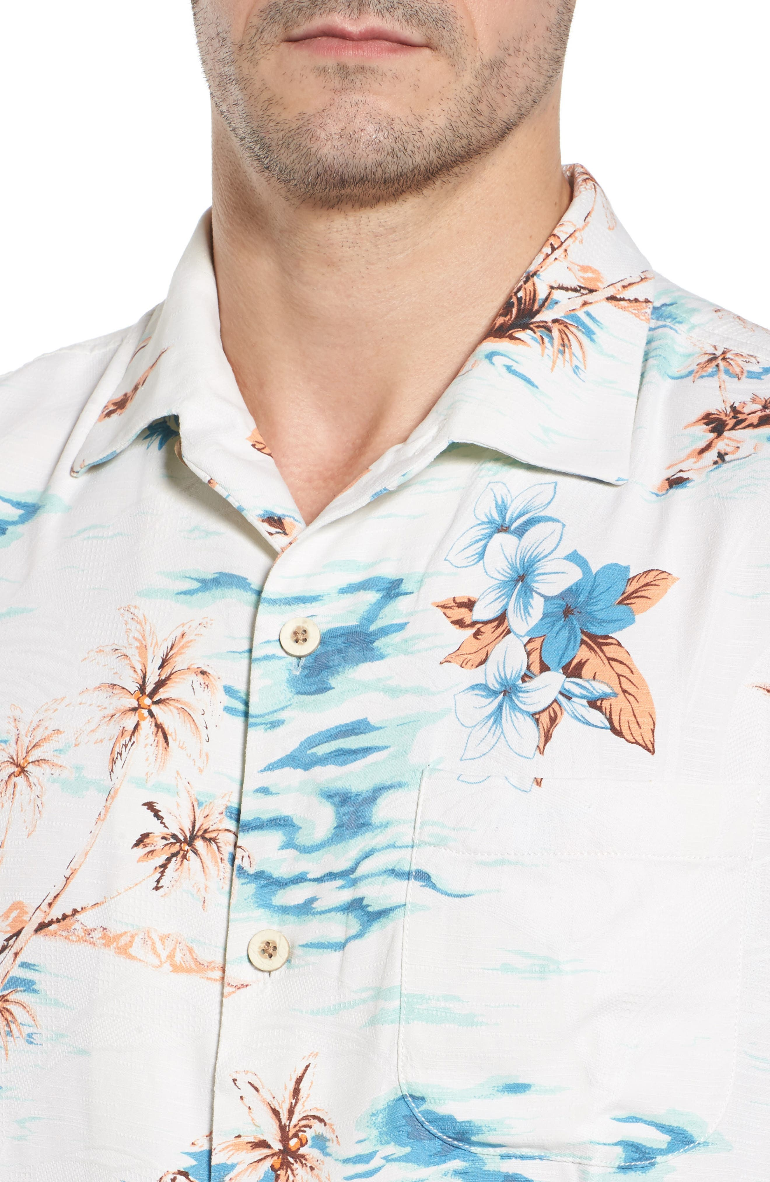 Island Hopping Silk Camp Shirt,                             Alternate thumbnail 4, color,