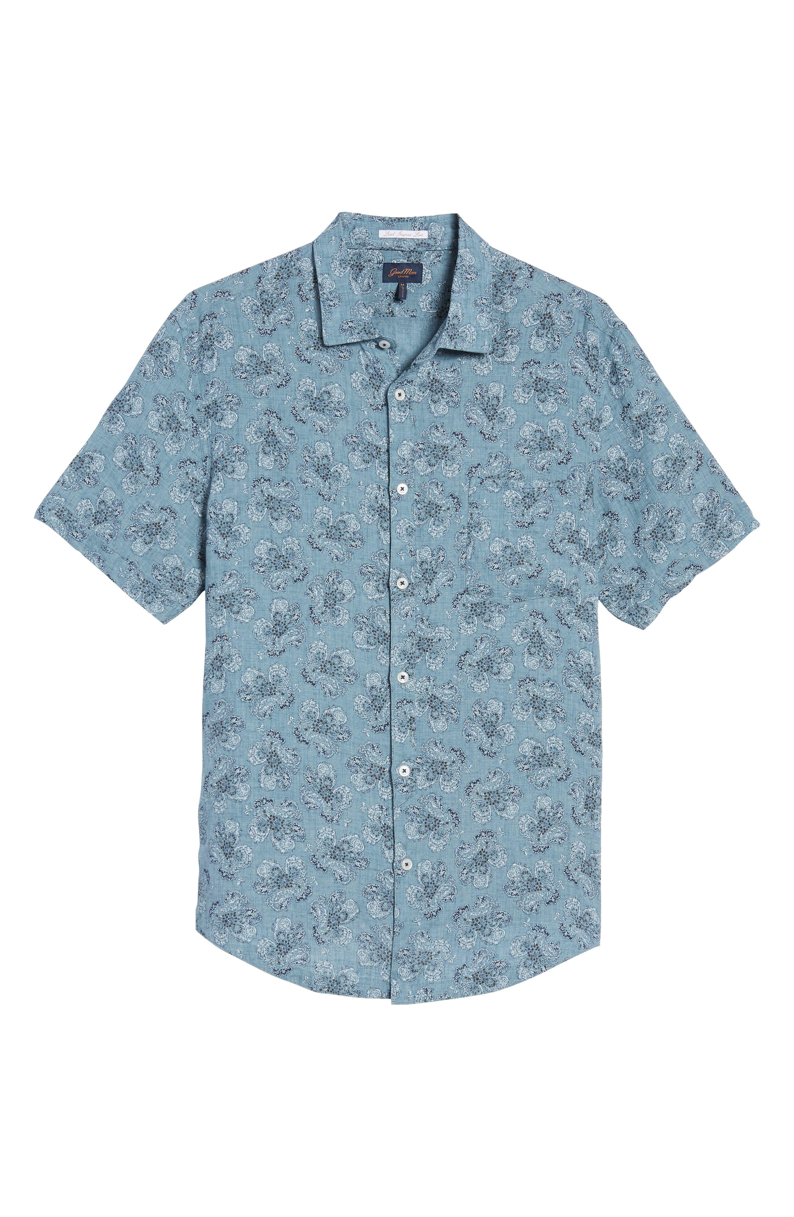 Tokyo Slim Fit Floral Short Sleeve Sport Shirt,                             Alternate thumbnail 6, color,                             INDIGO