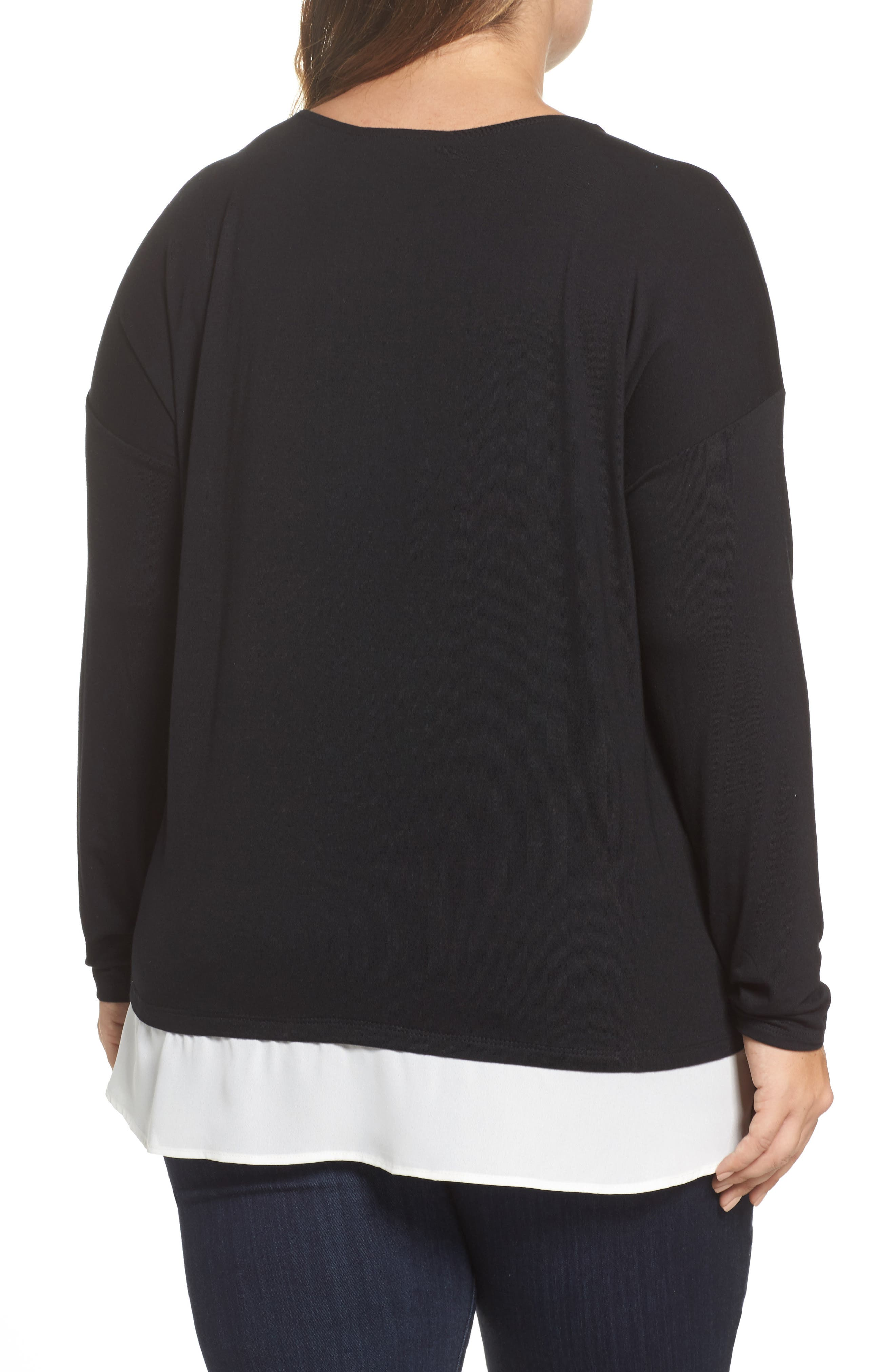 Layered Look Tie Hem Top,                             Alternate thumbnail 2, color,                             001