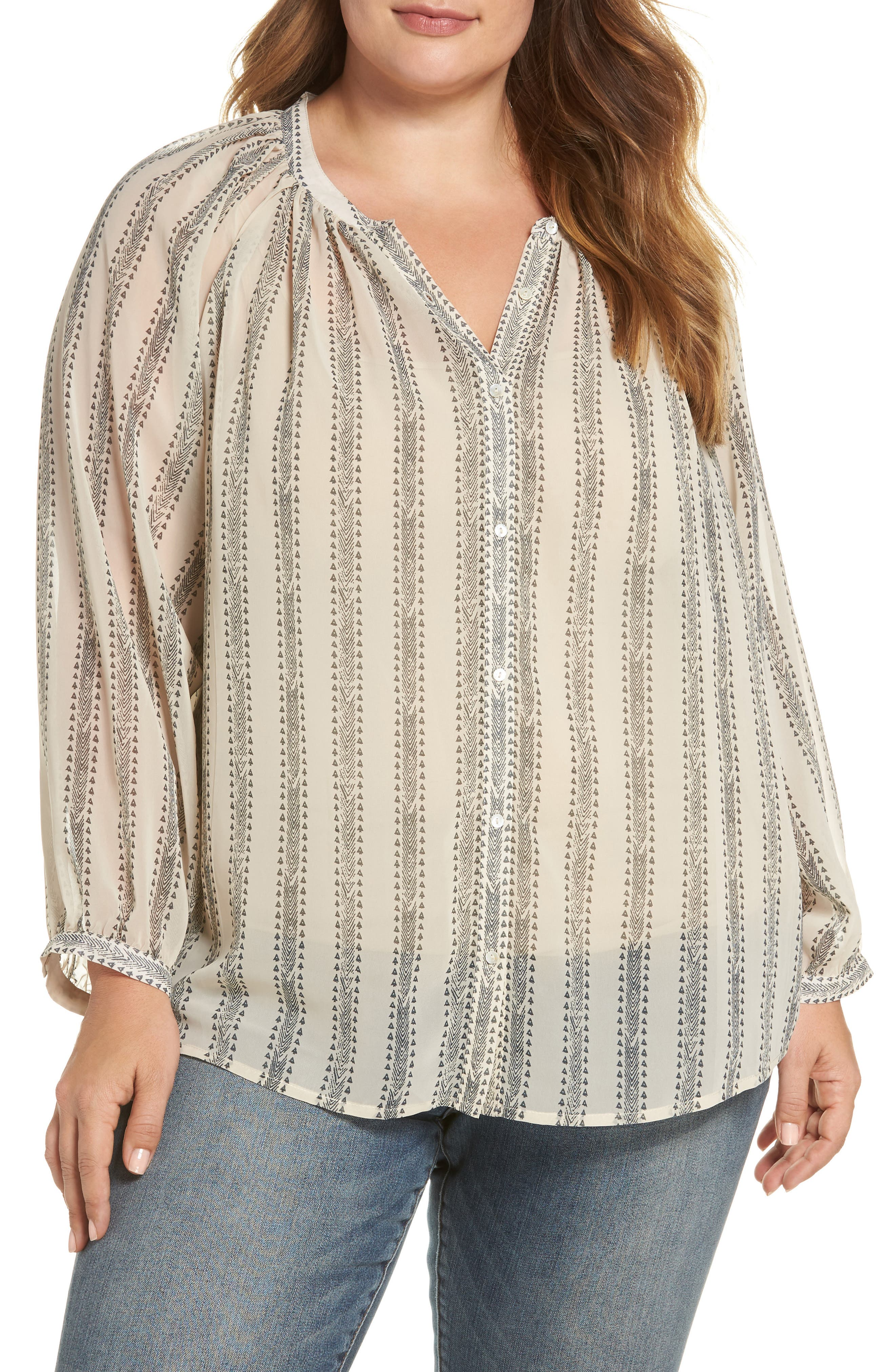 LUCKY BRAND Geo Stripe Poet Top, Main, color, 900