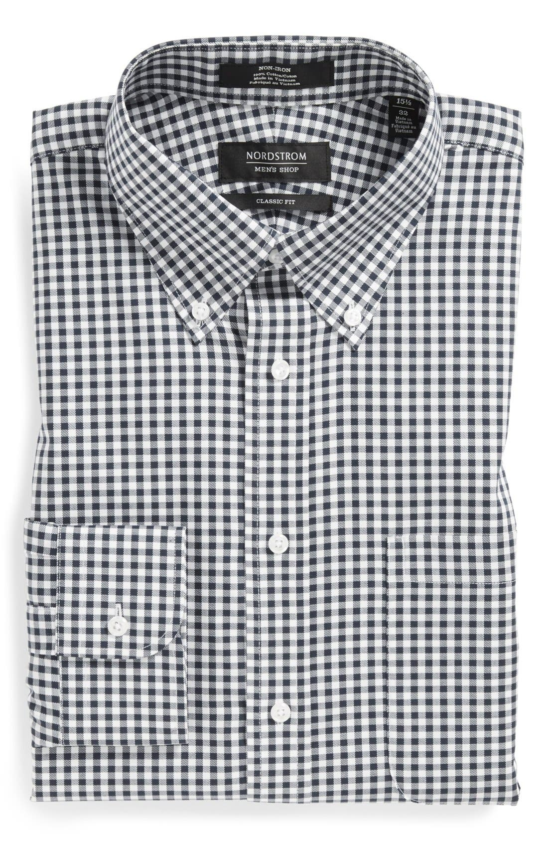 Classic Fit Non-Iron Gingham Dress Shirt,                         Main,                         color, BLACK ROCK