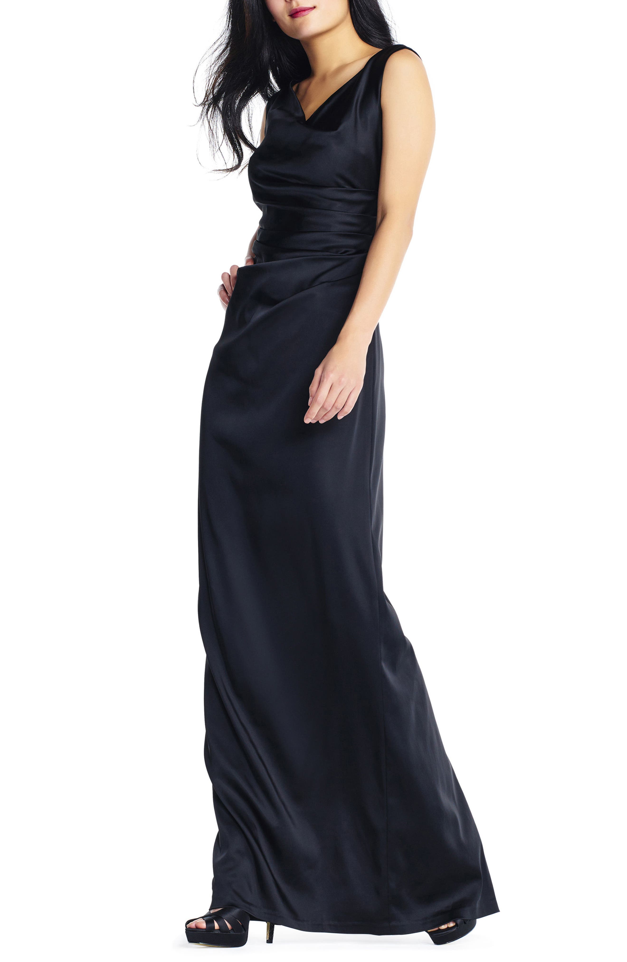 Stretch Satin Gown,                             Alternate thumbnail 3, color,                             002