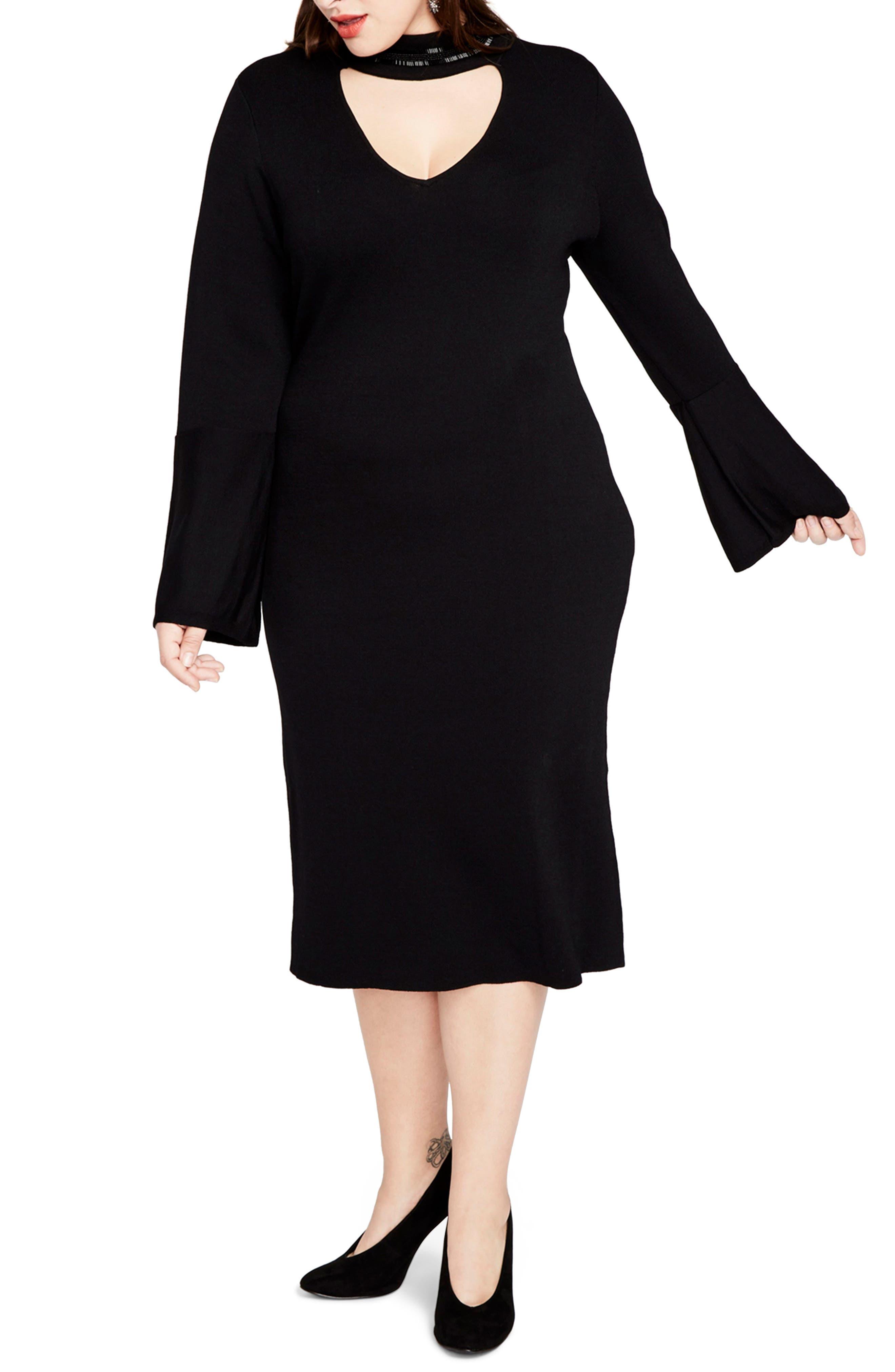 RACHEL RACHEL ROY,                             Choker Neck Sweater Dress,                             Main thumbnail 1, color,                             001