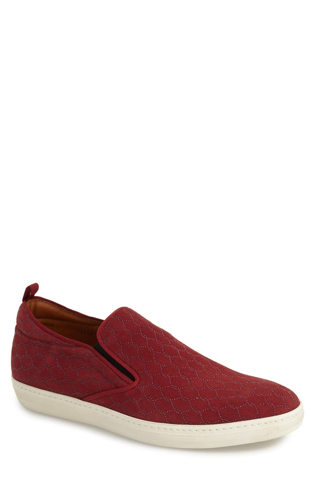 'Moneo' Slip-On,                         Main,                         color, BURGUNDY PATTERNED FABRC