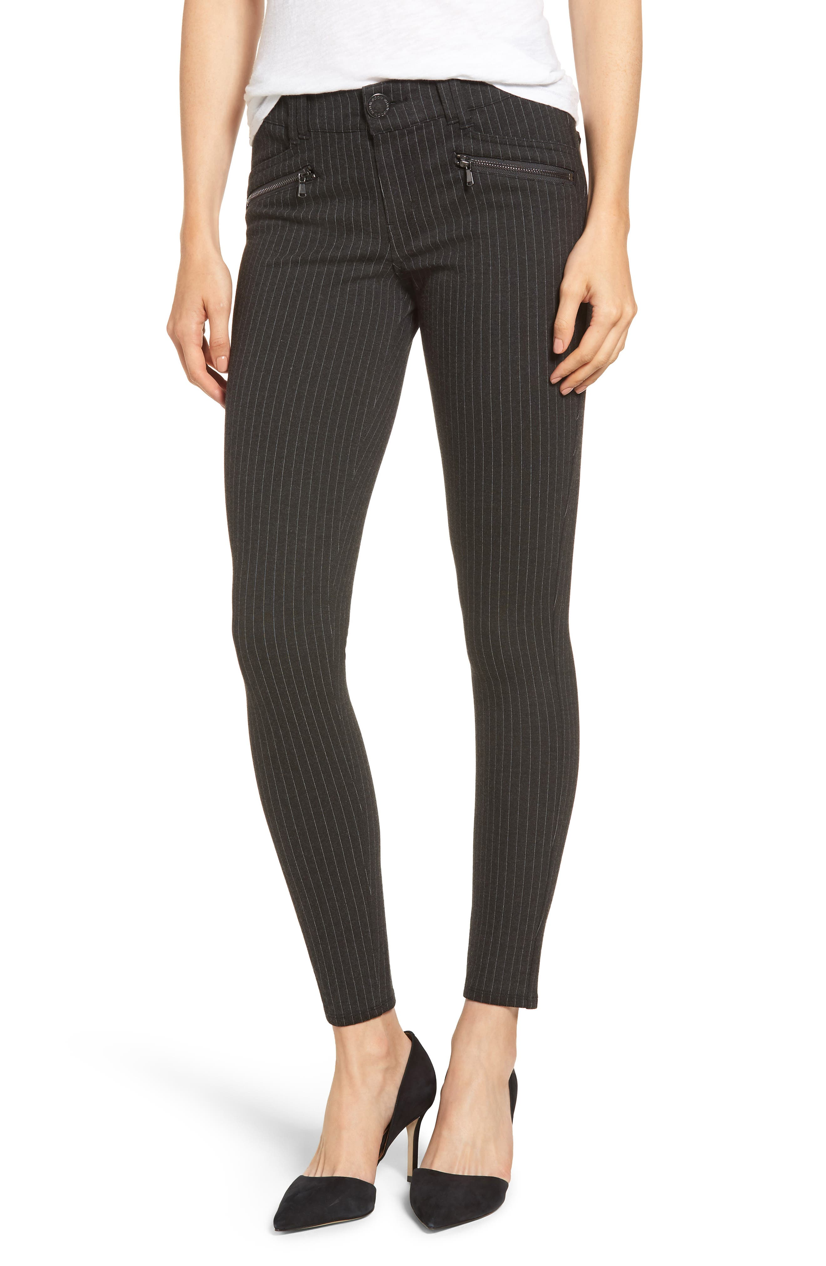 Ab-Solution Skinny Ponte Pants,                         Main,                         color, CHARCOAL PIN STRIPE