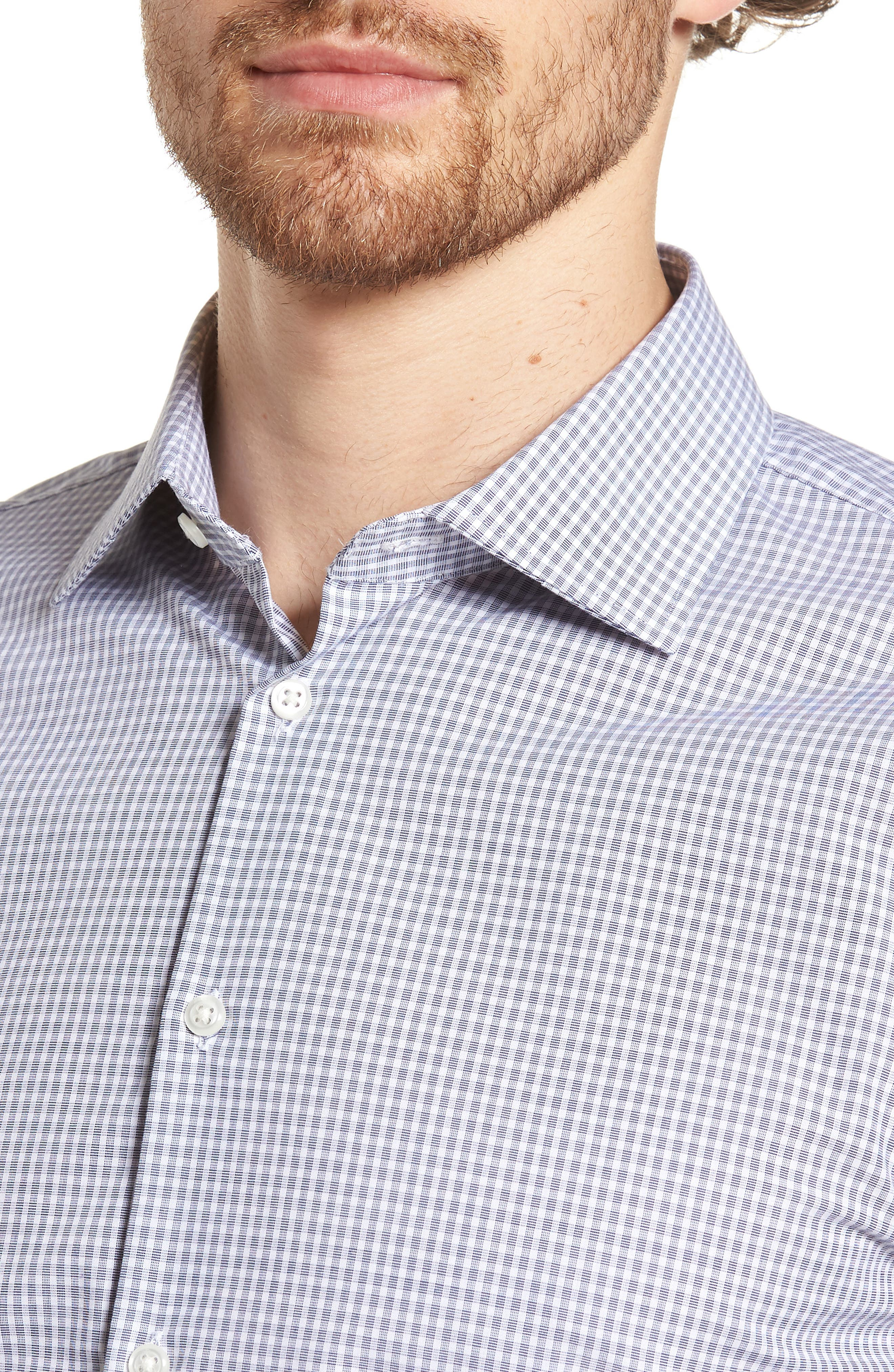Extra Trim Fit Non-Iron Check Dress Shirt,                             Alternate thumbnail 4, color,