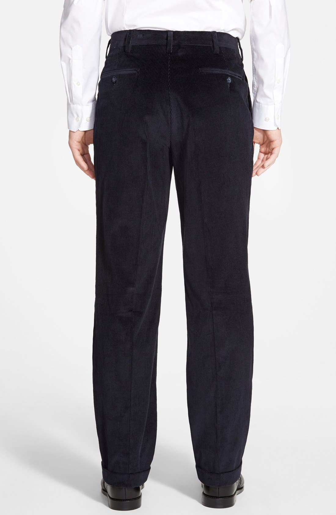 Pleated Corduroy Trousers,                             Alternate thumbnail 3, color,                             NAVY