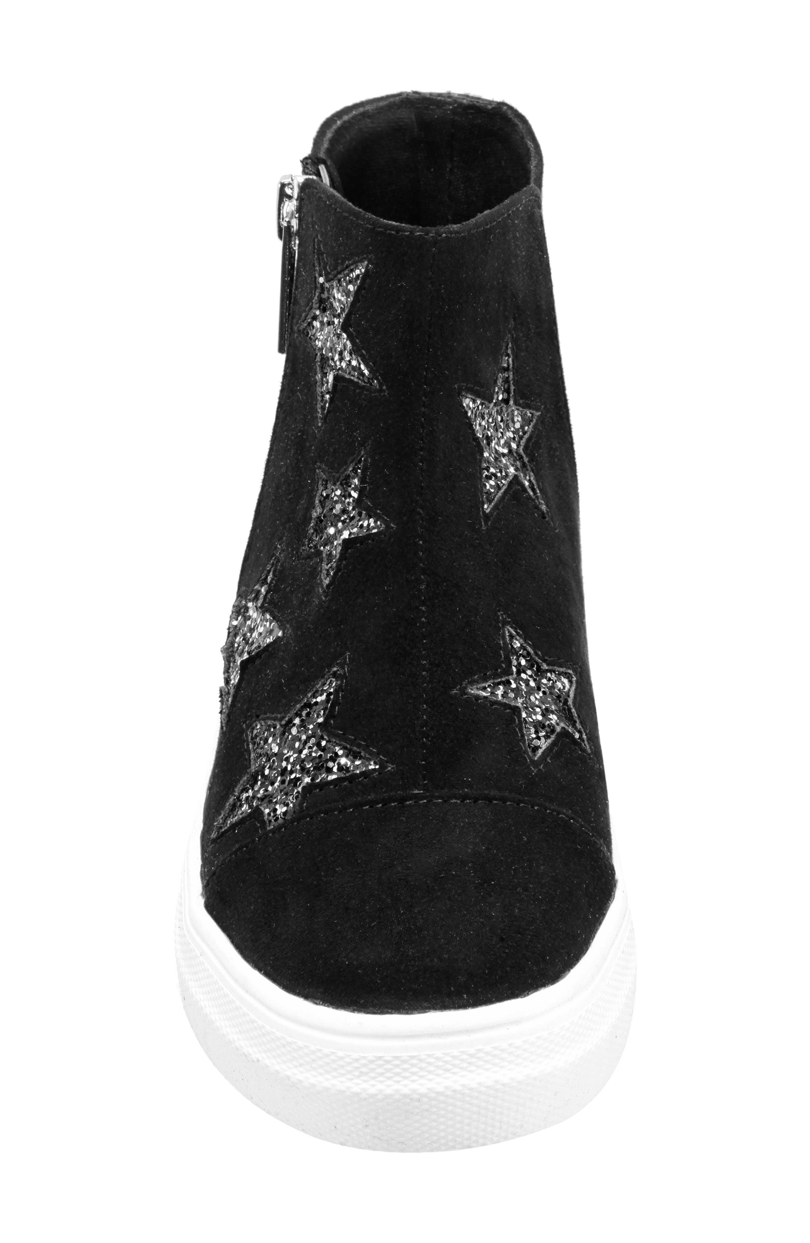 Jacqui Glitter High Top Sneaker,                             Alternate thumbnail 4, color,                             BLACK MICRO SUEDE