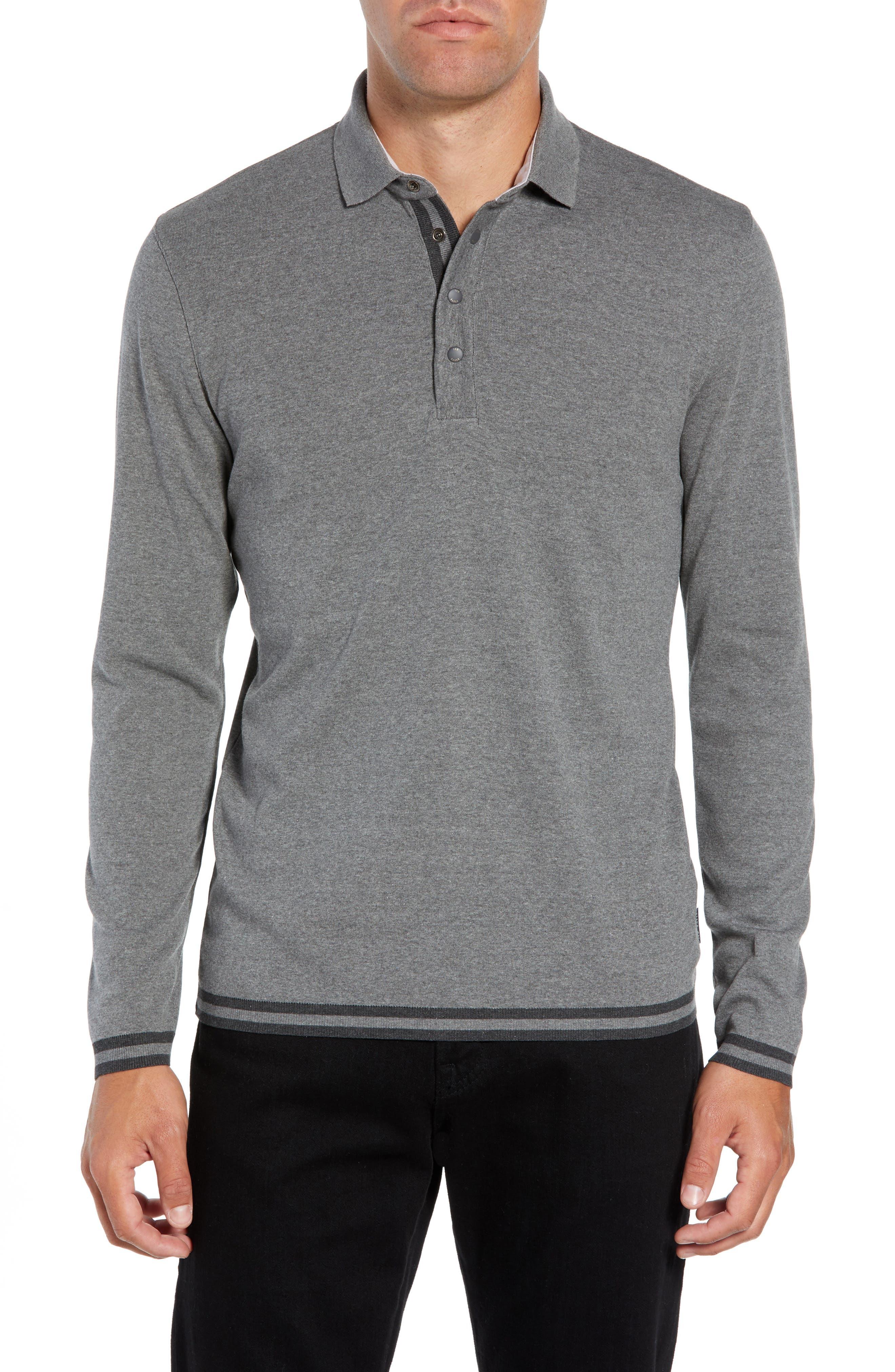 Longfiz Slim Fit Ribstart Polo,                         Main,                         color, CHARCOAL