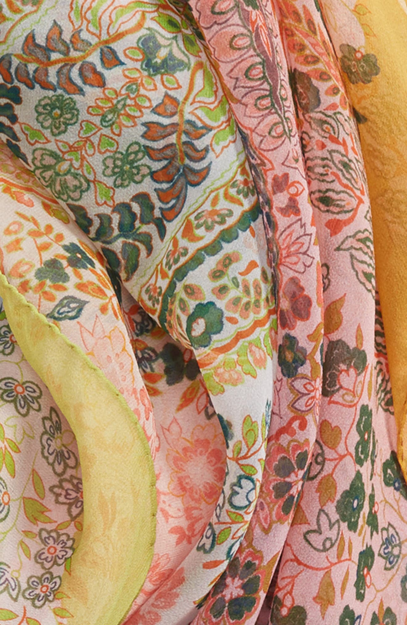 Paisley Silk Scarf,                             Alternate thumbnail 4, color,                             ORANGE
