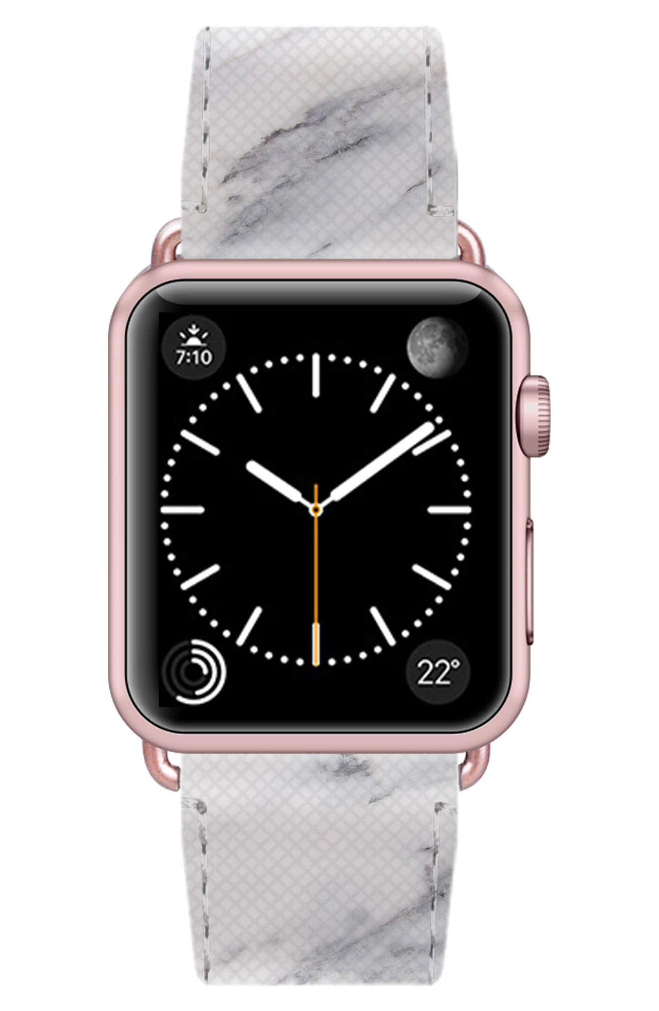 Saffiano Faux Leather Apple Watch Strap,                             Alternate thumbnail 28, color,