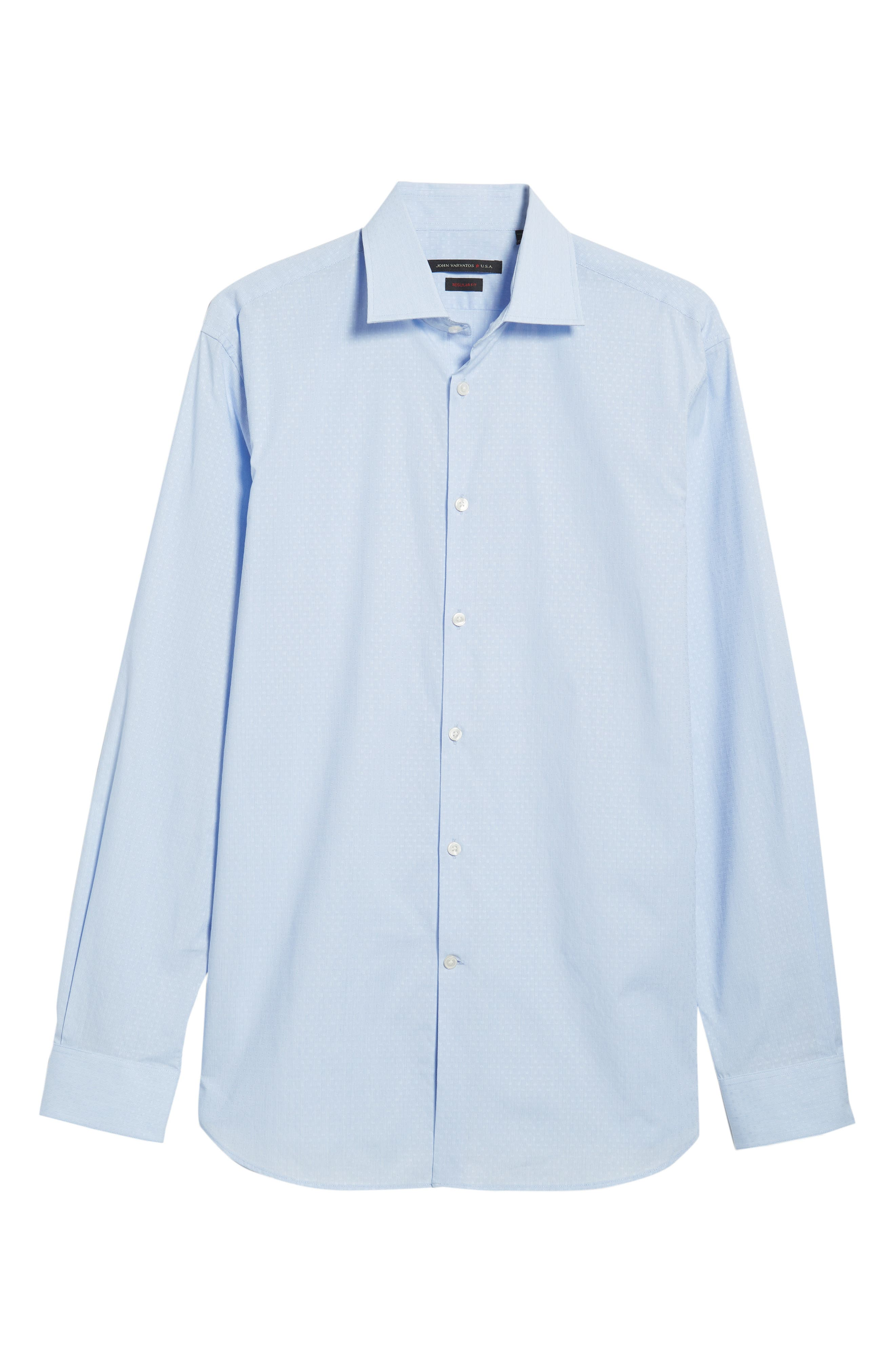 Regular Fit Stripe Dress Shirt,                             Alternate thumbnail 5, color,                             CLOUD