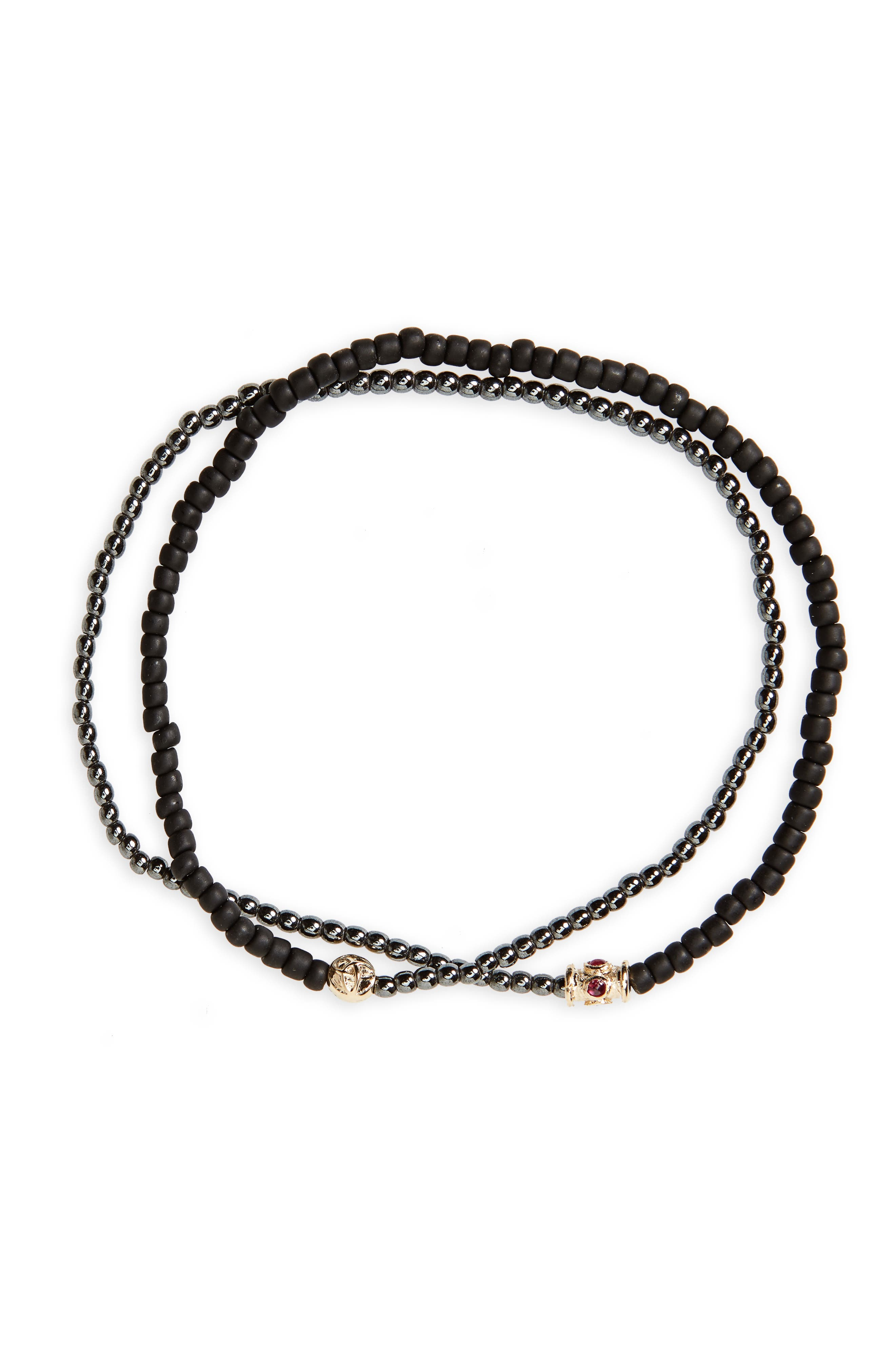 Ruby Barrel Bead Wrap Bracelet,                             Main thumbnail 1, color,                             011