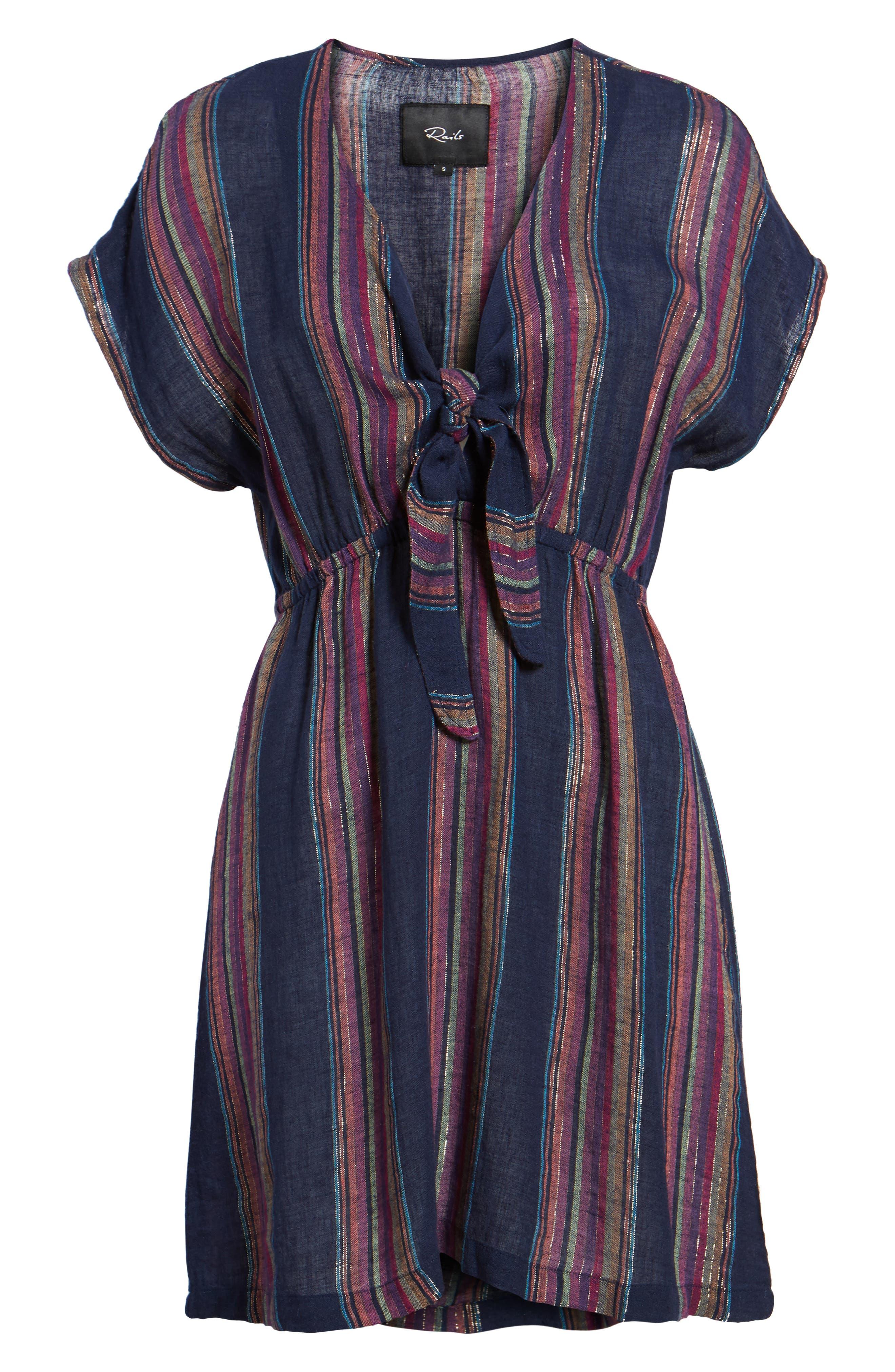 Tie Front Dress,                             Alternate thumbnail 6, color,                             TRINIDAD STRIPE