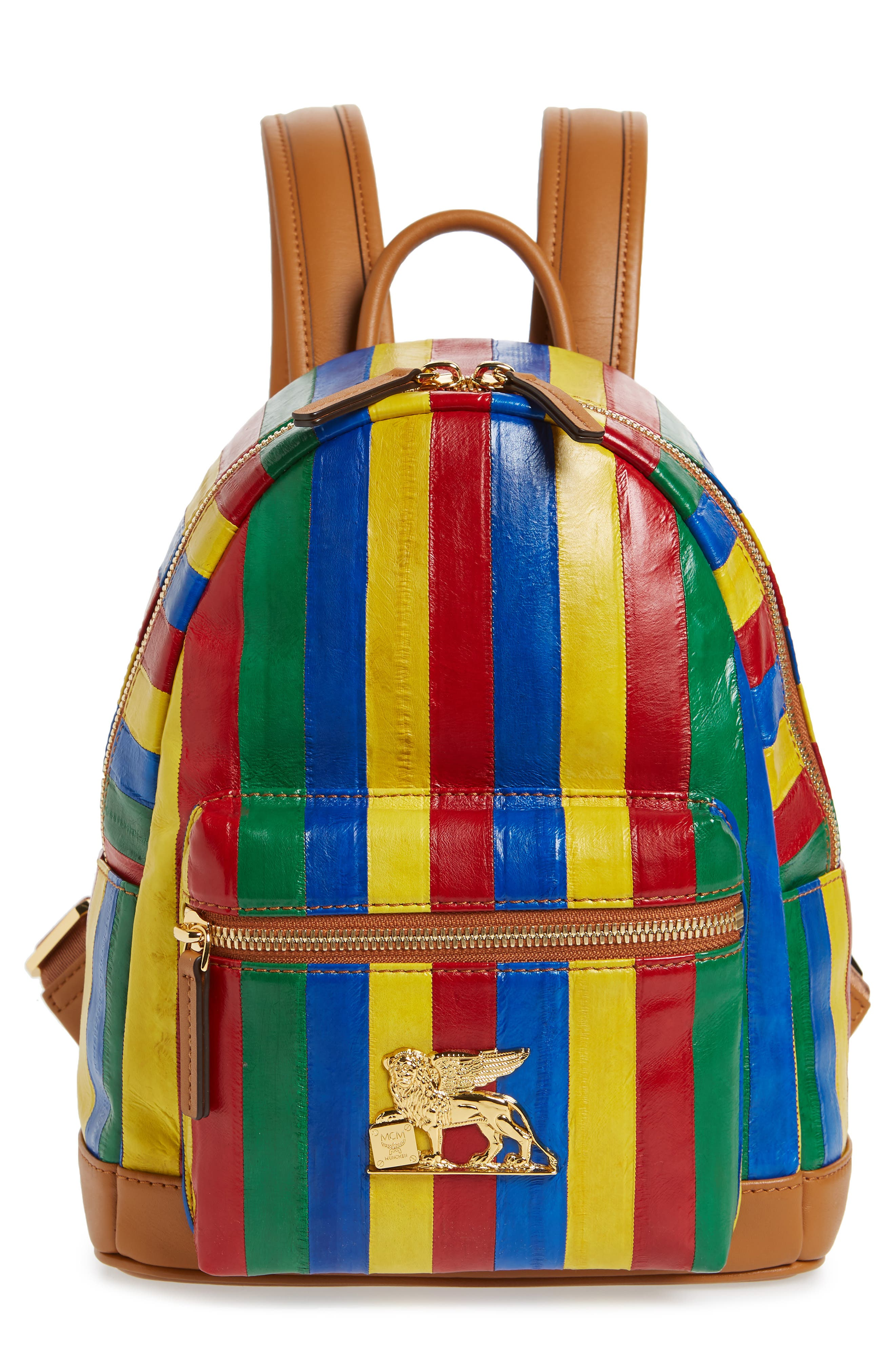 Mini Leather Backpack,                             Main thumbnail 1, color,                             MULTI