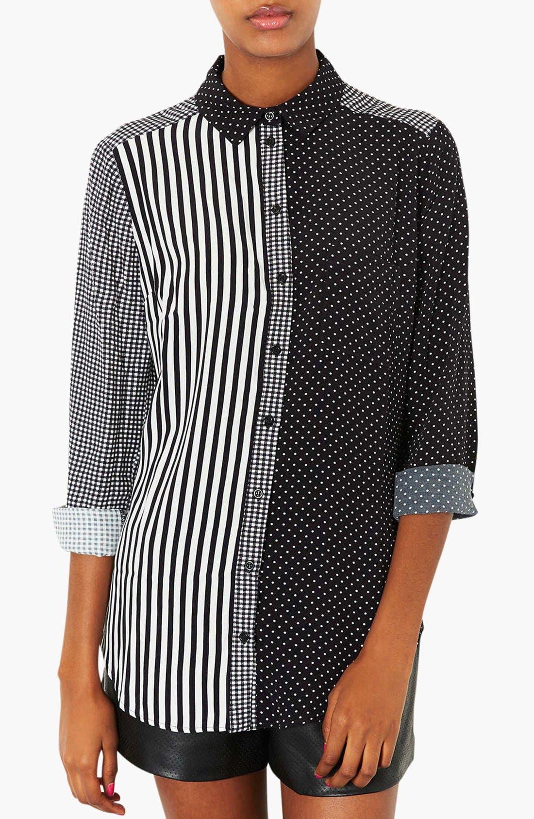 Mixed Print Shirt,                             Main thumbnail 1, color,                             001