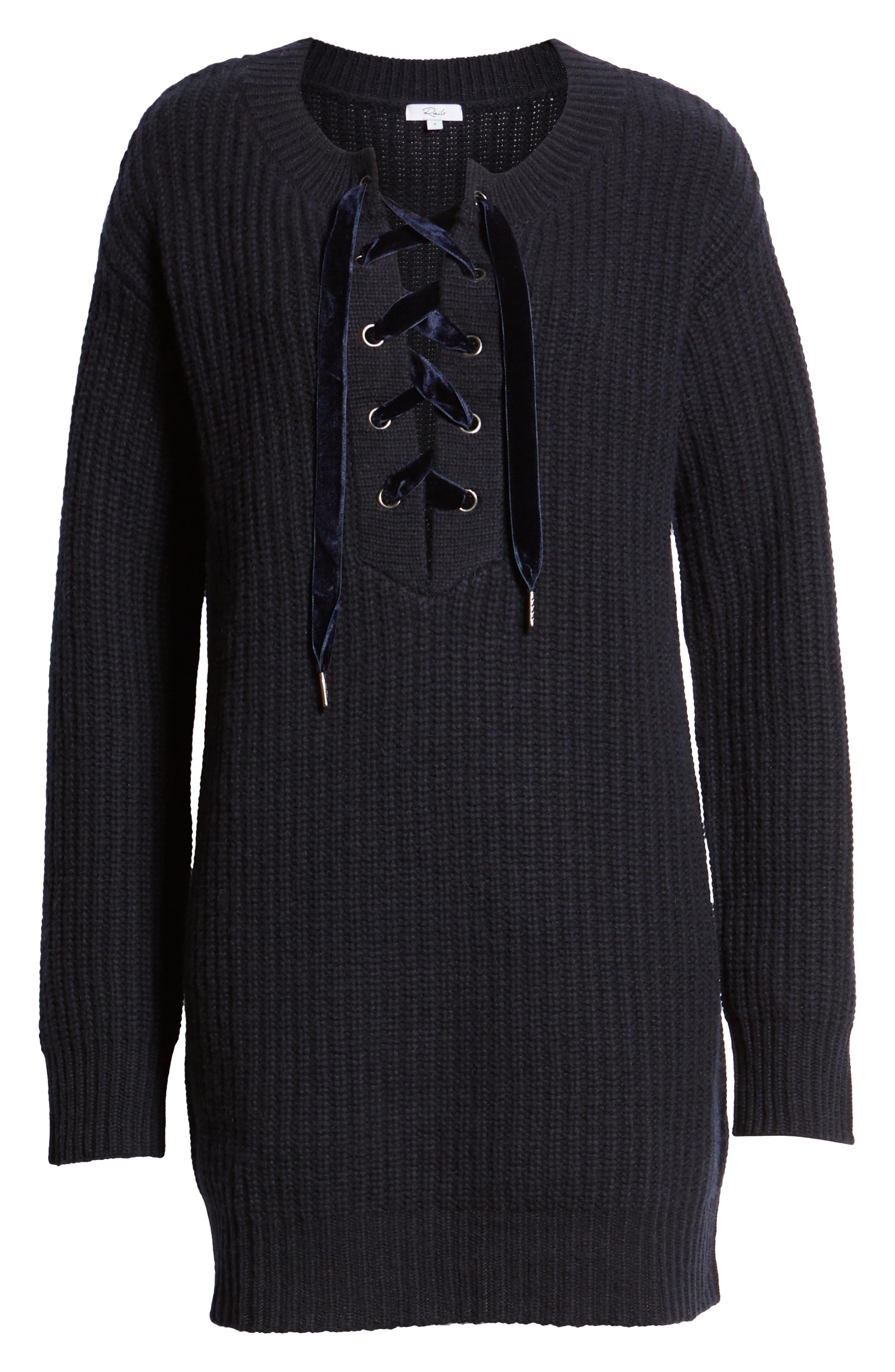 Nicole Velvet Tie Sweater Dress,                             Alternate thumbnail 7, color,                             400