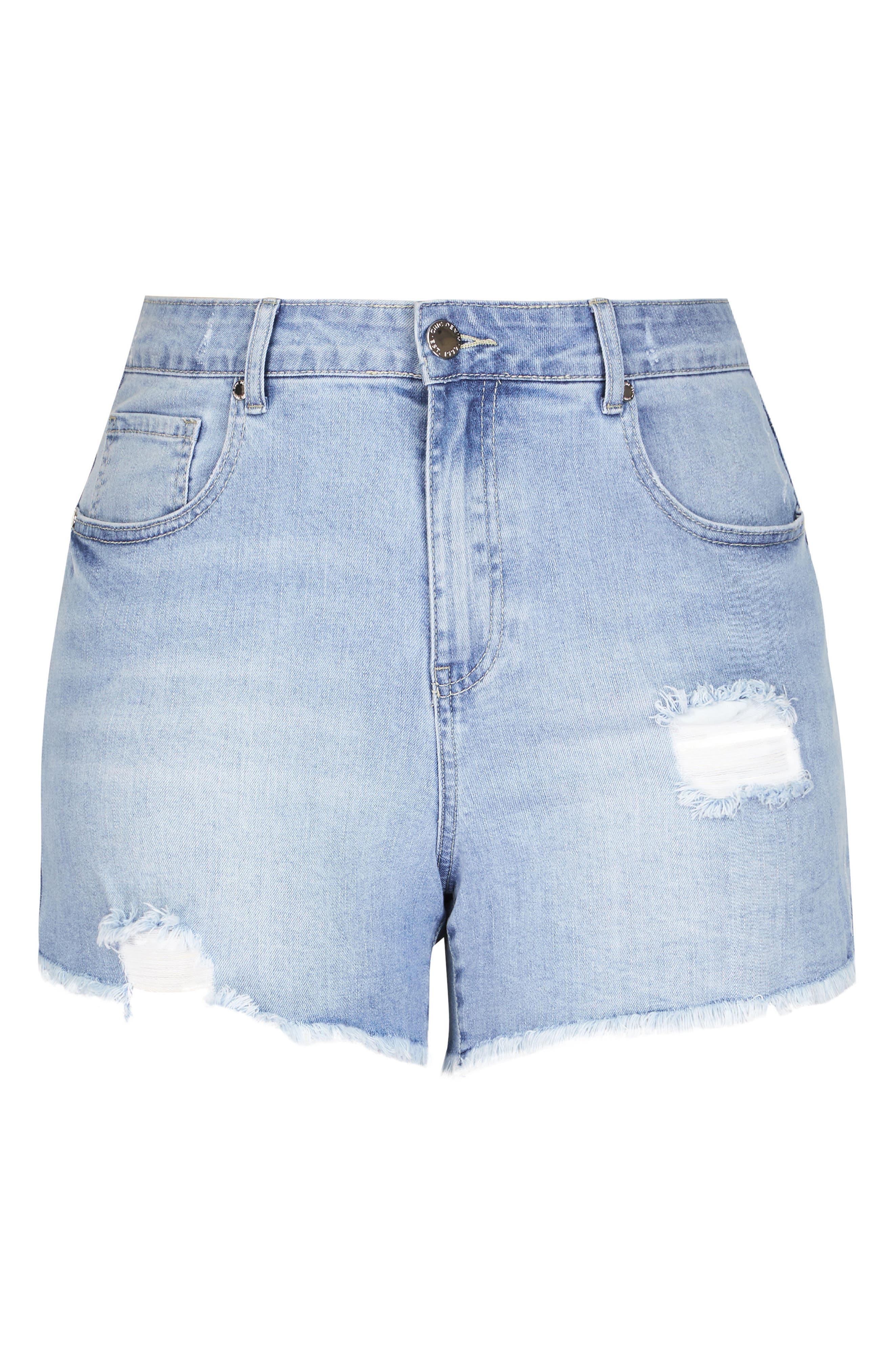 Sweet Cut Out Denim Shorts,                             Alternate thumbnail 3, color,                             401