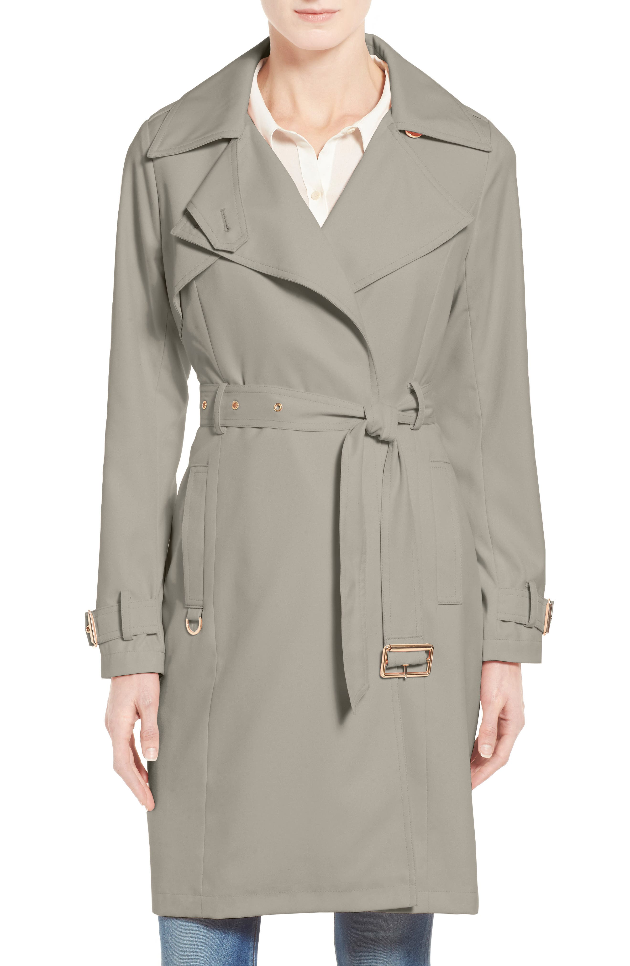 Flowy Belted Trench Coat,                             Main thumbnail 4, color,