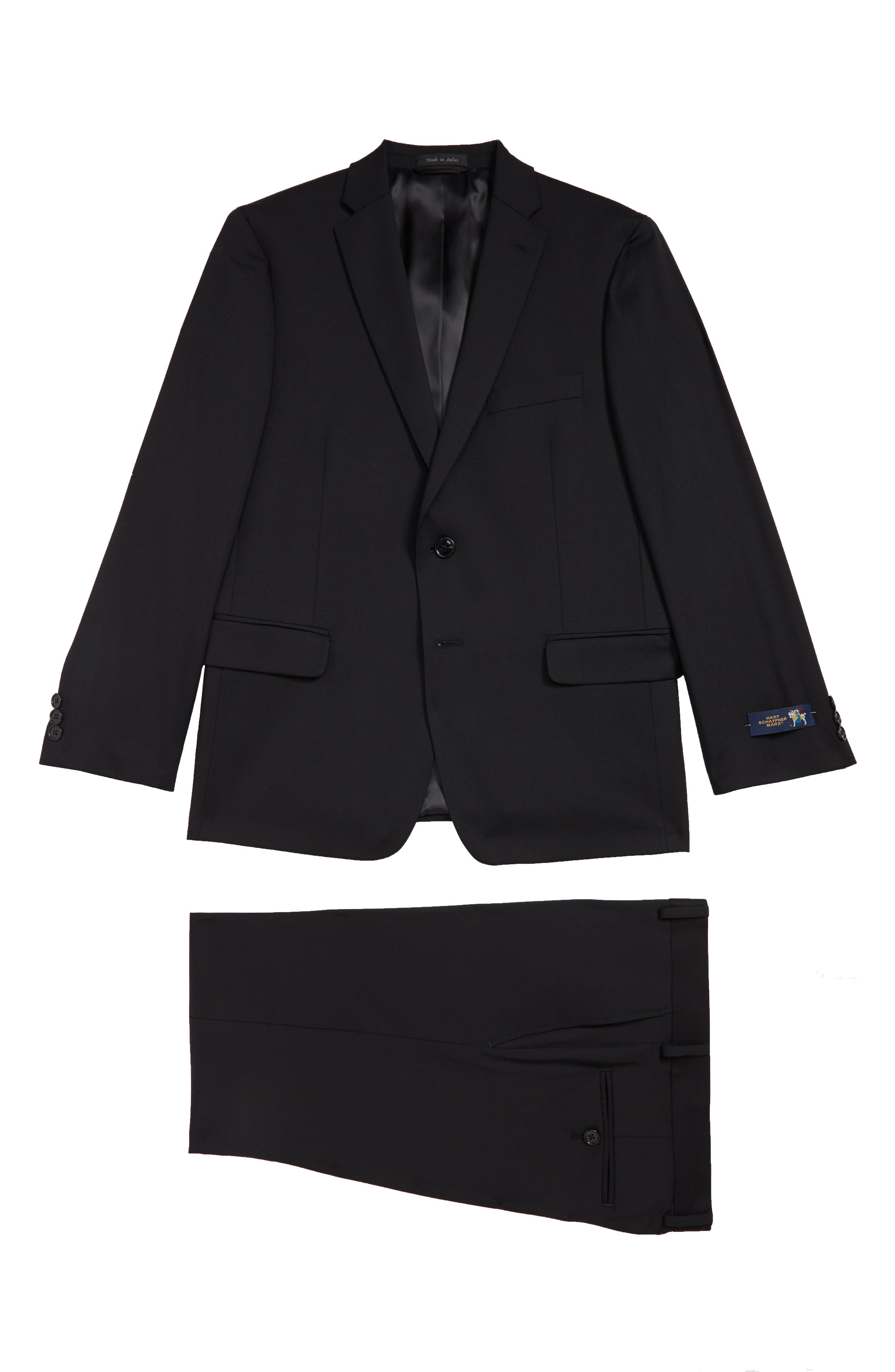 Windowpane Check Stretch Wool Suit,                             Main thumbnail 1, color,                             BLACK