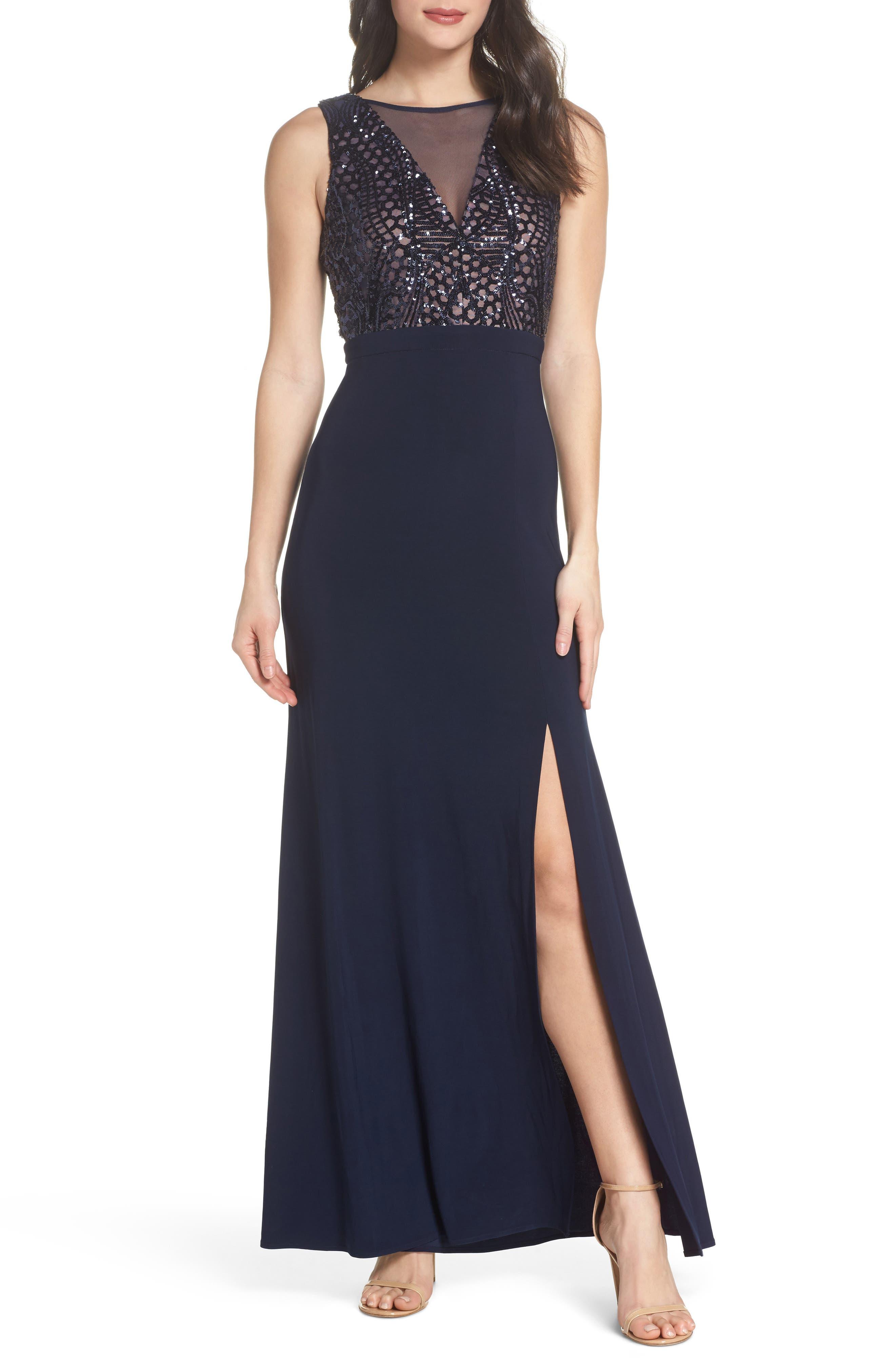 Sequin Bodice Illusion Neck Gown,                         Main,                         color,