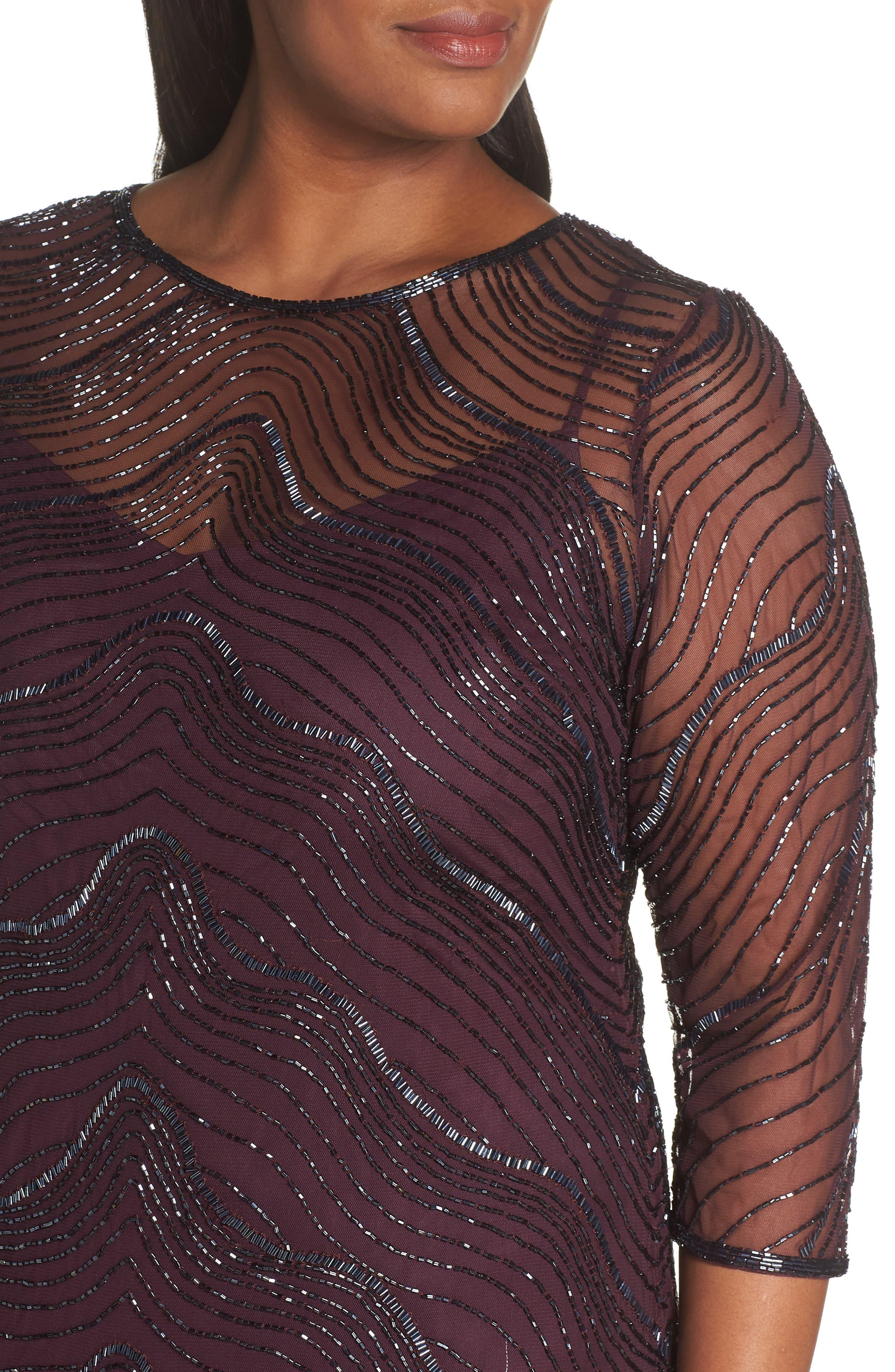 Deco Beaded Godet Gown,                             Alternate thumbnail 4, color,                             500