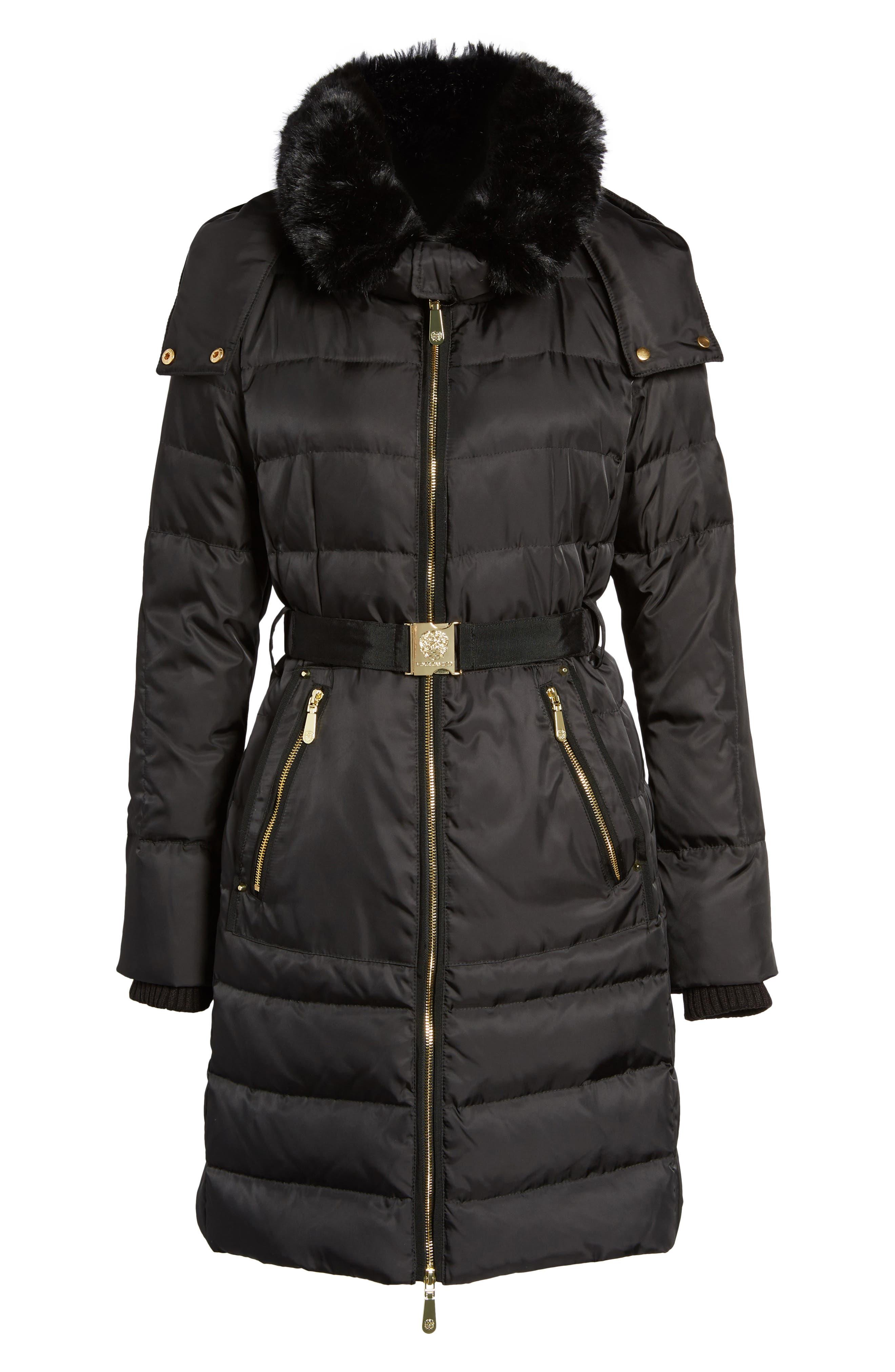 Belted Coat with Detachable Faux Fur,                             Alternate thumbnail 5, color,                             001