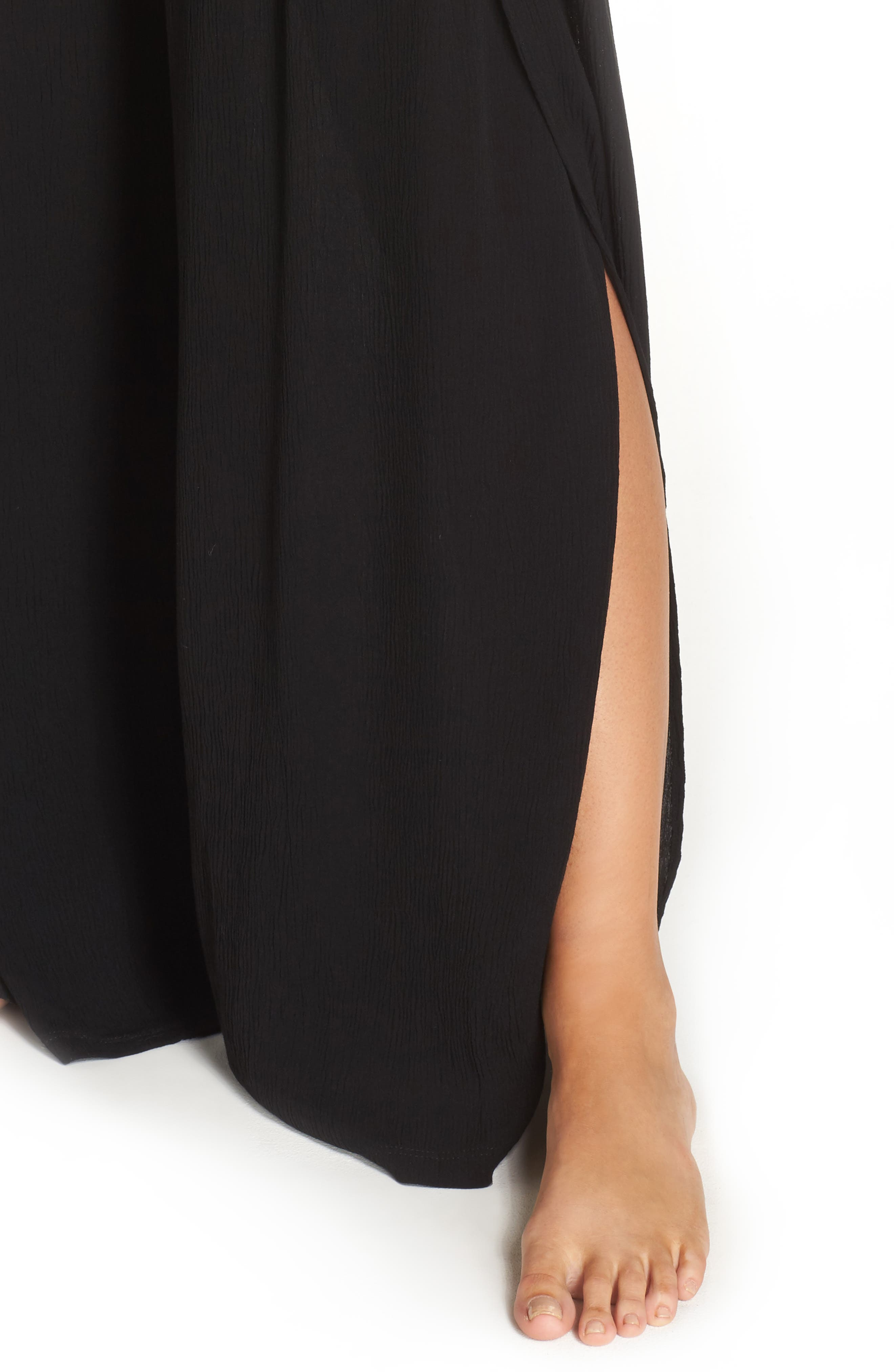 Modern Muse Cover-Up Flyaway Pants,                             Alternate thumbnail 4, color,                             BLACK