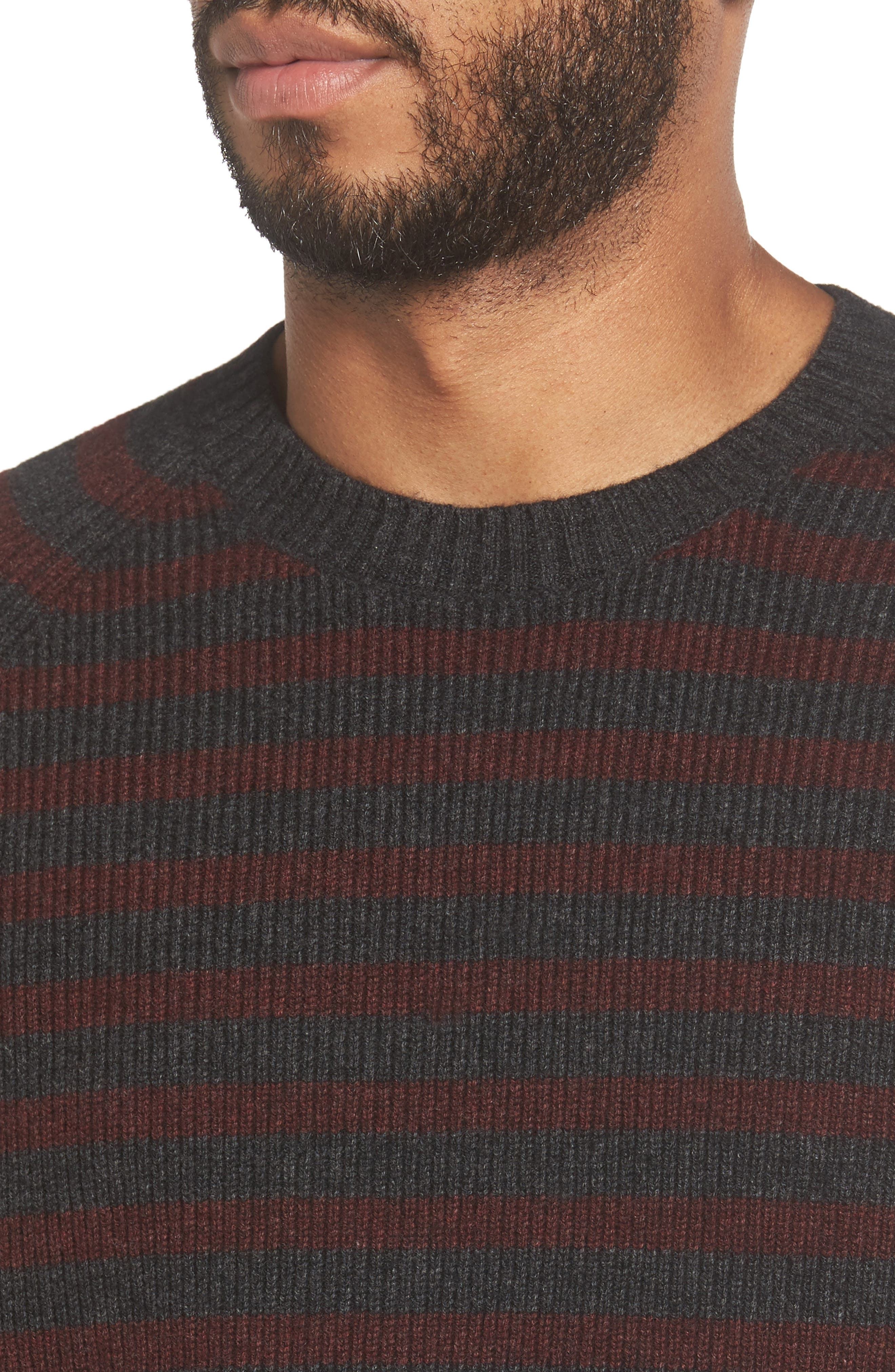 Stripe Wool & Cashmere Sweater,                             Alternate thumbnail 4, color,                             093