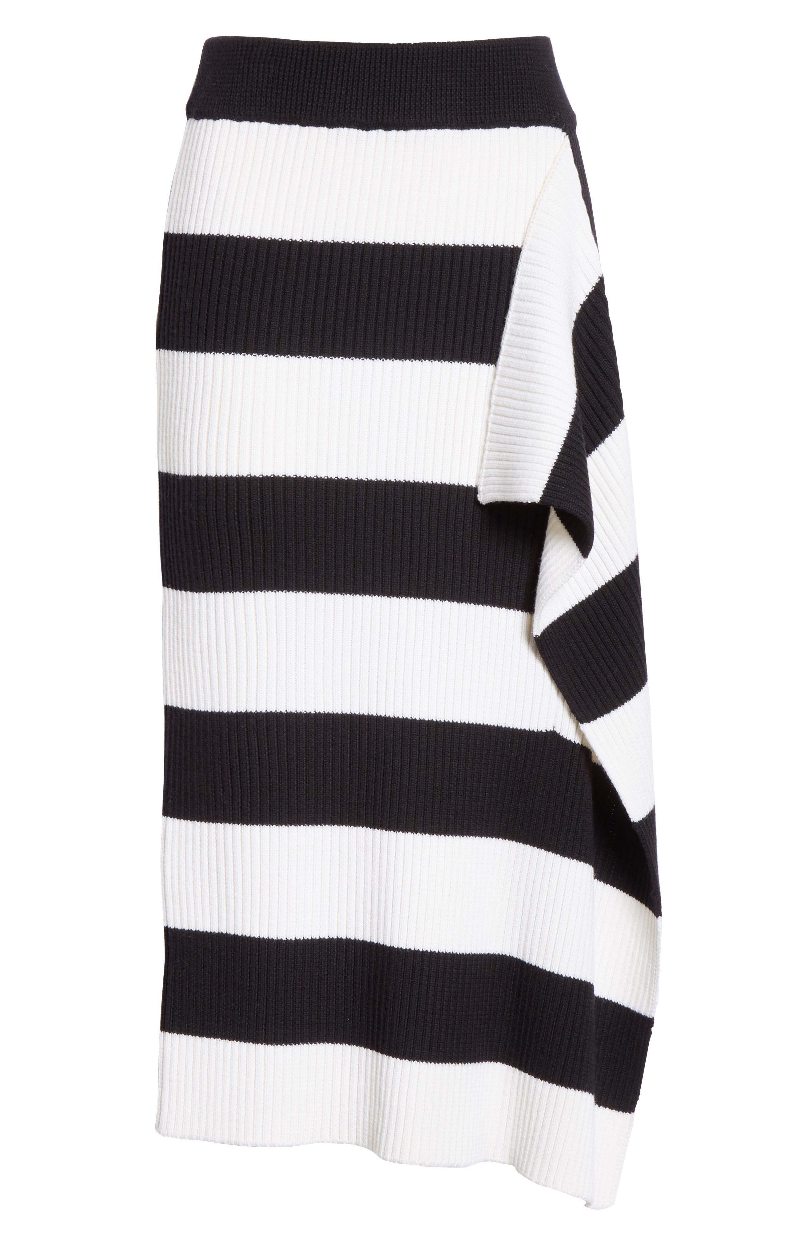Origami Flap Stripe Midi Skirt,                             Alternate thumbnail 6, color,                             BLACK/ WHITE MULTI