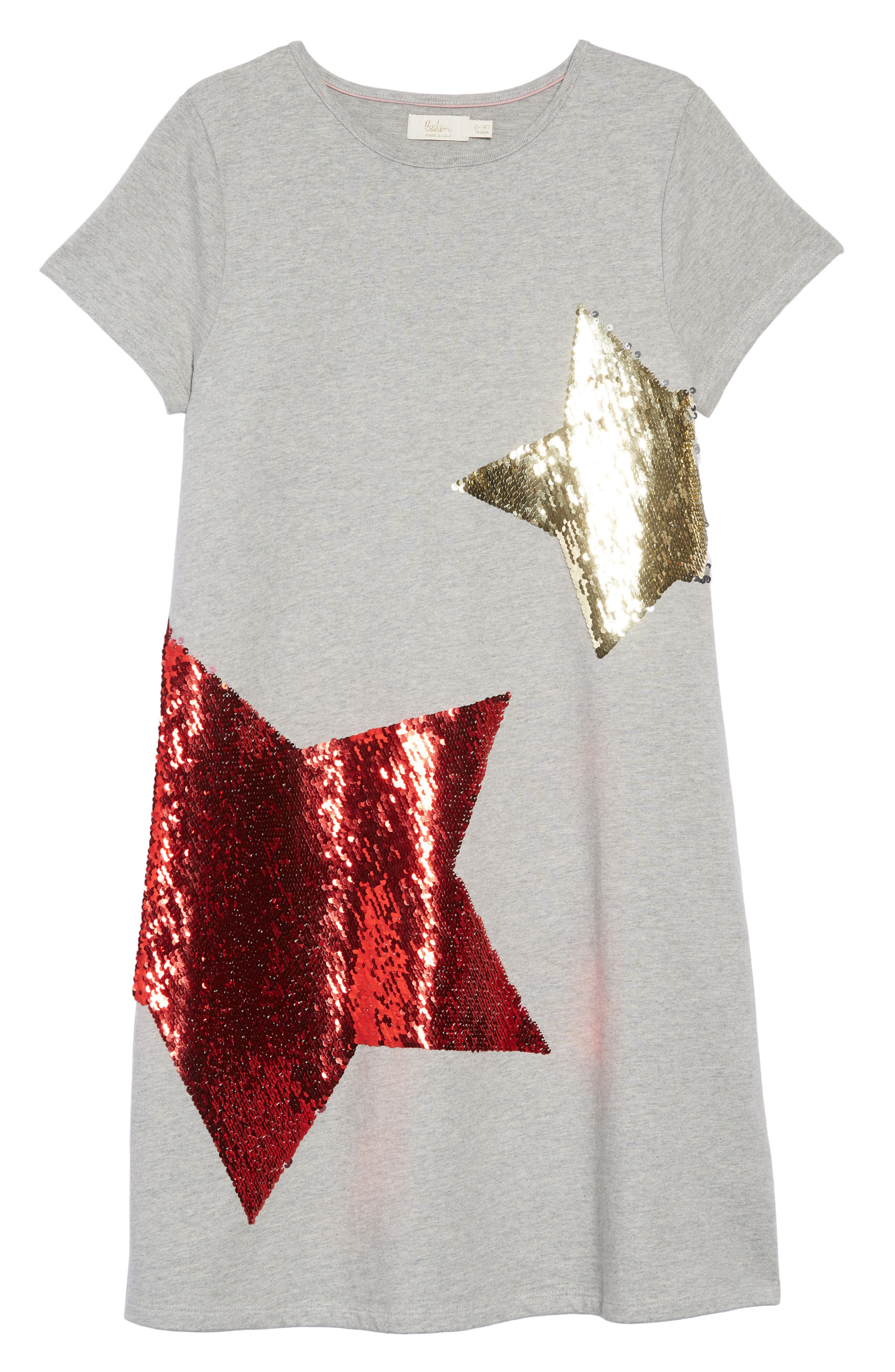 Shimmer Flip Sequin Star T-Shirt Dress,                             Alternate thumbnail 3, color,                             GRY GREY MARL/ RAINBOW SEQUINS