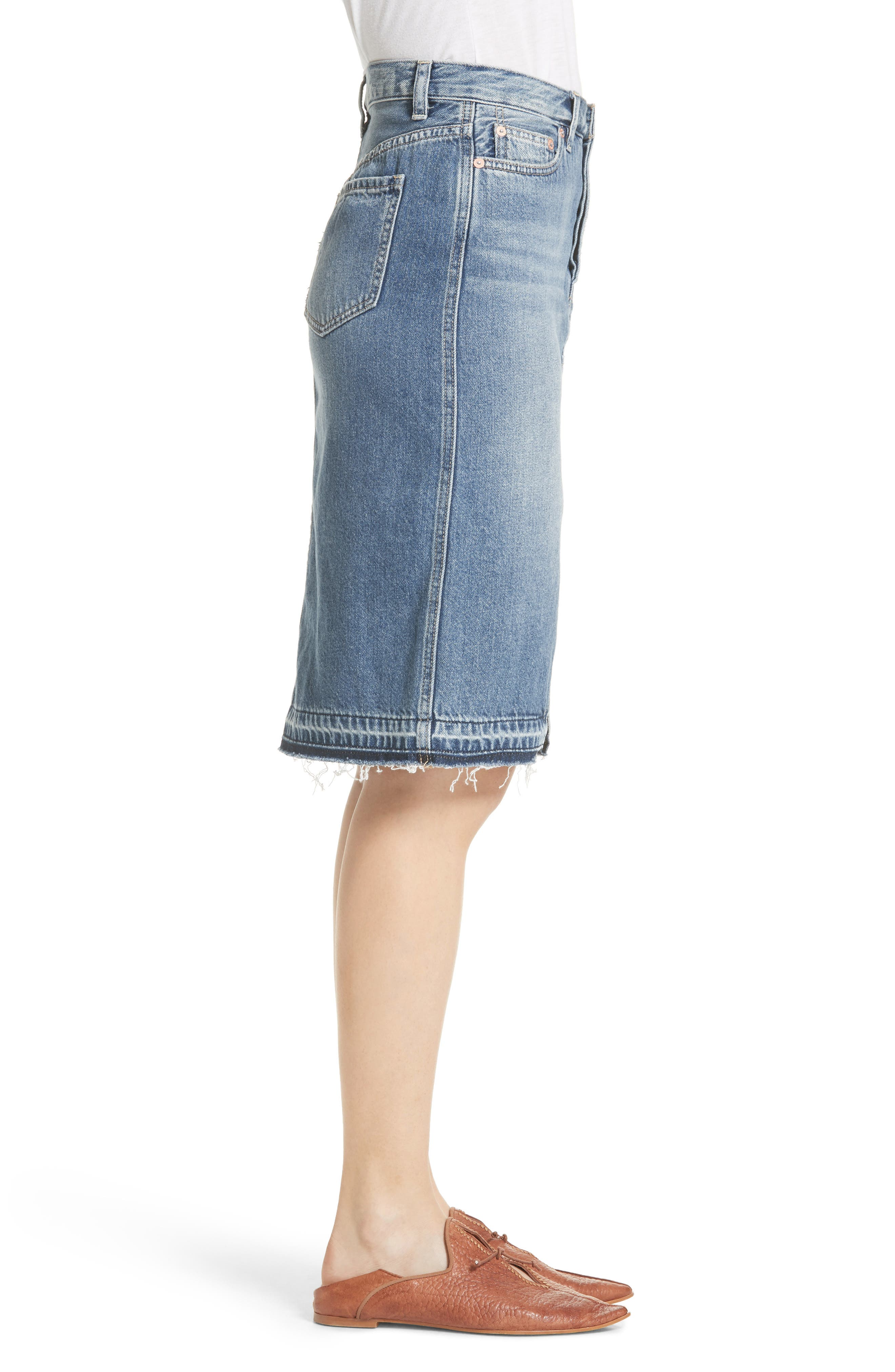 Front Slit Denim Skirt,                             Alternate thumbnail 3, color,                             400