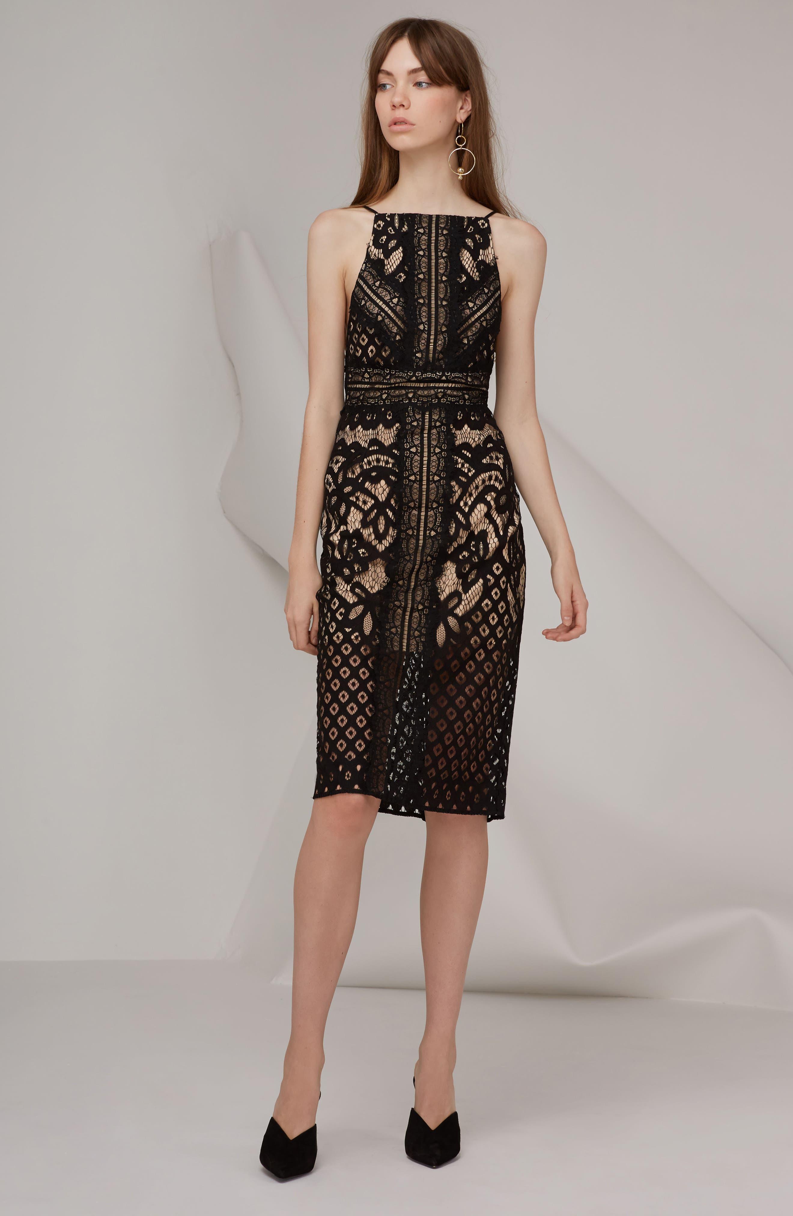 Bridges Lace Midi Dress,                             Alternate thumbnail 6, color,                             001