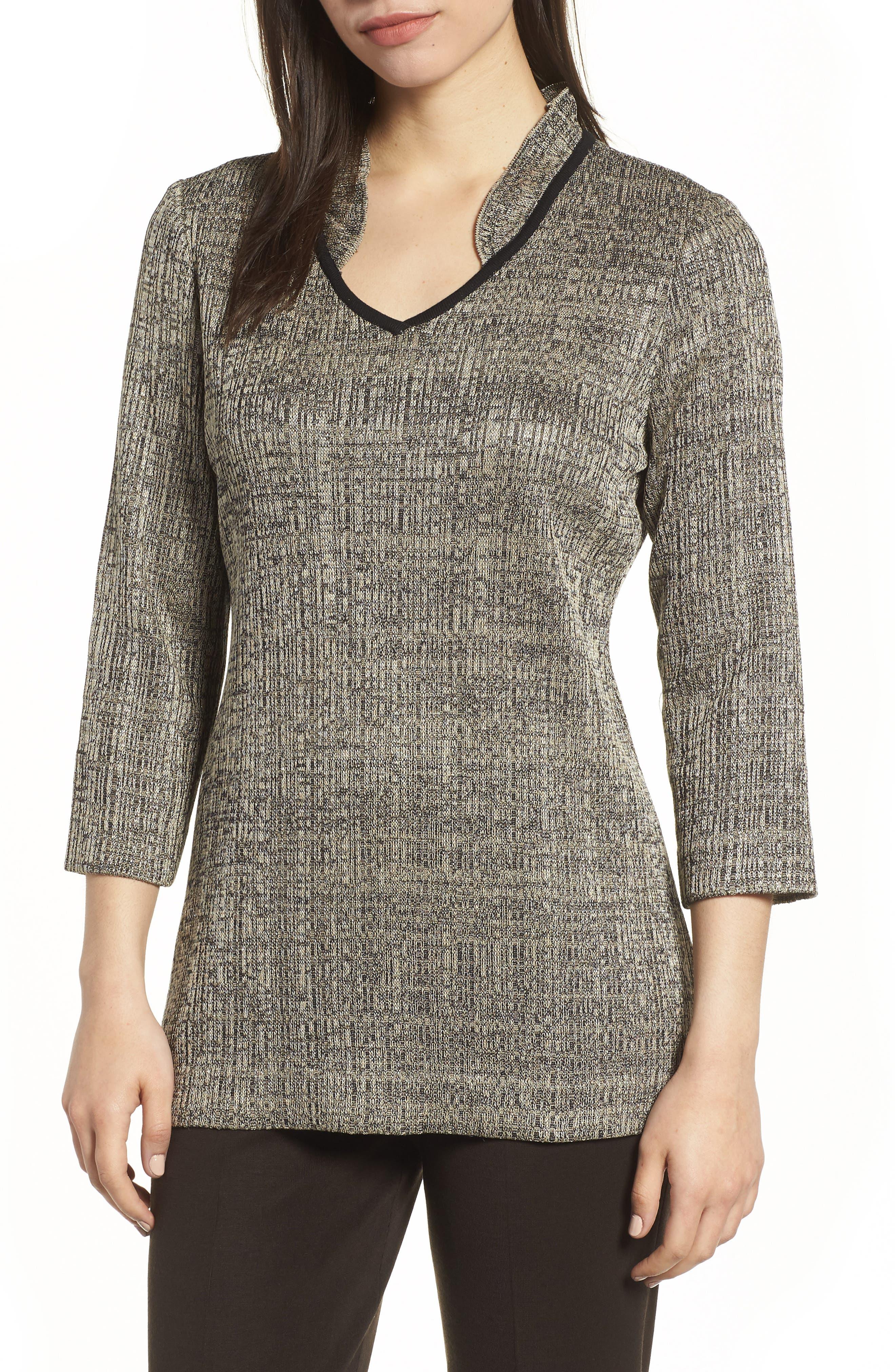 Textured Knit Tunic,                         Main,                         color, CEDAR/ BLACK