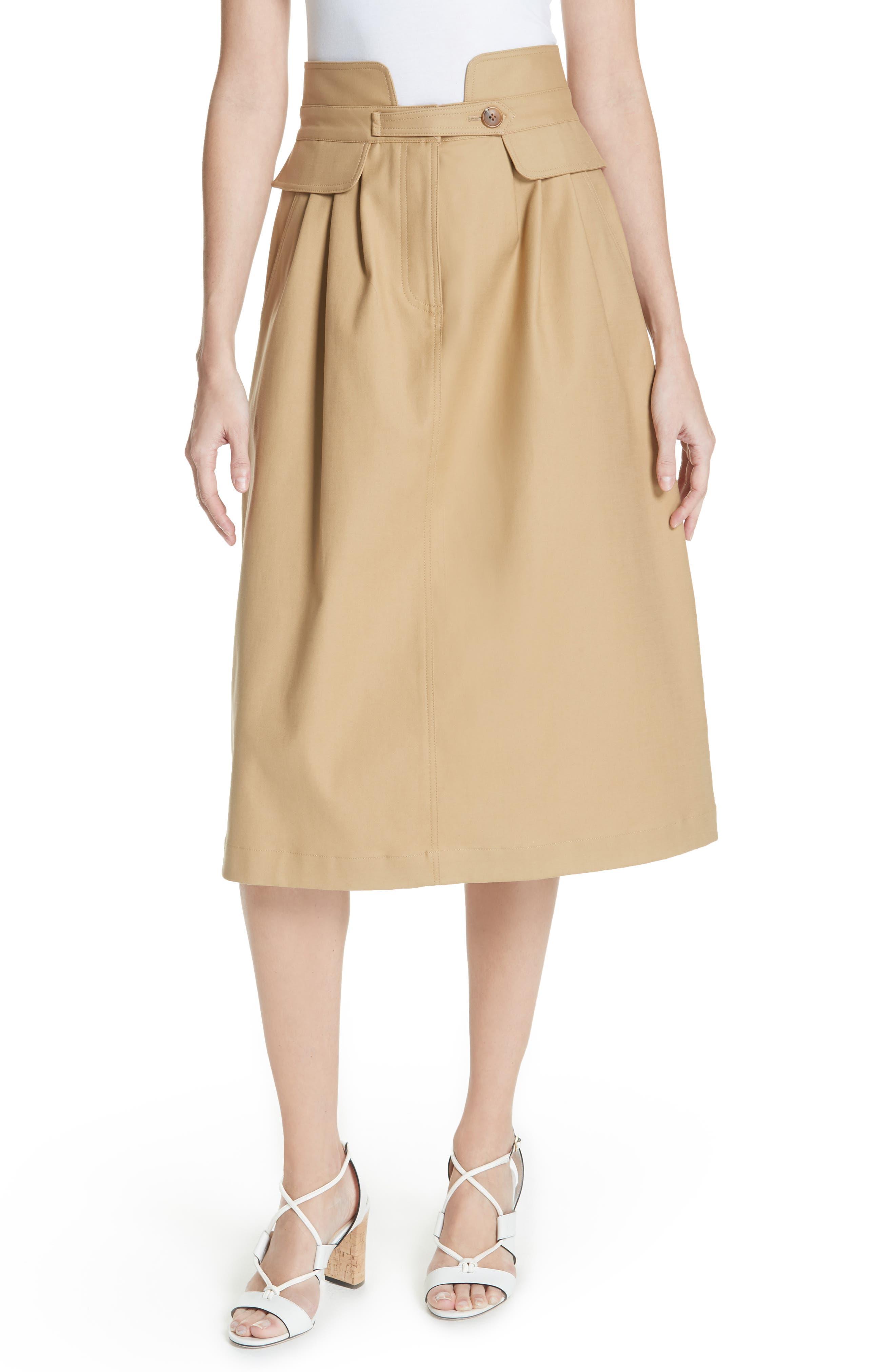 Kamille Peplum Waist Skirt,                             Main thumbnail 1, color,                             KHAKI