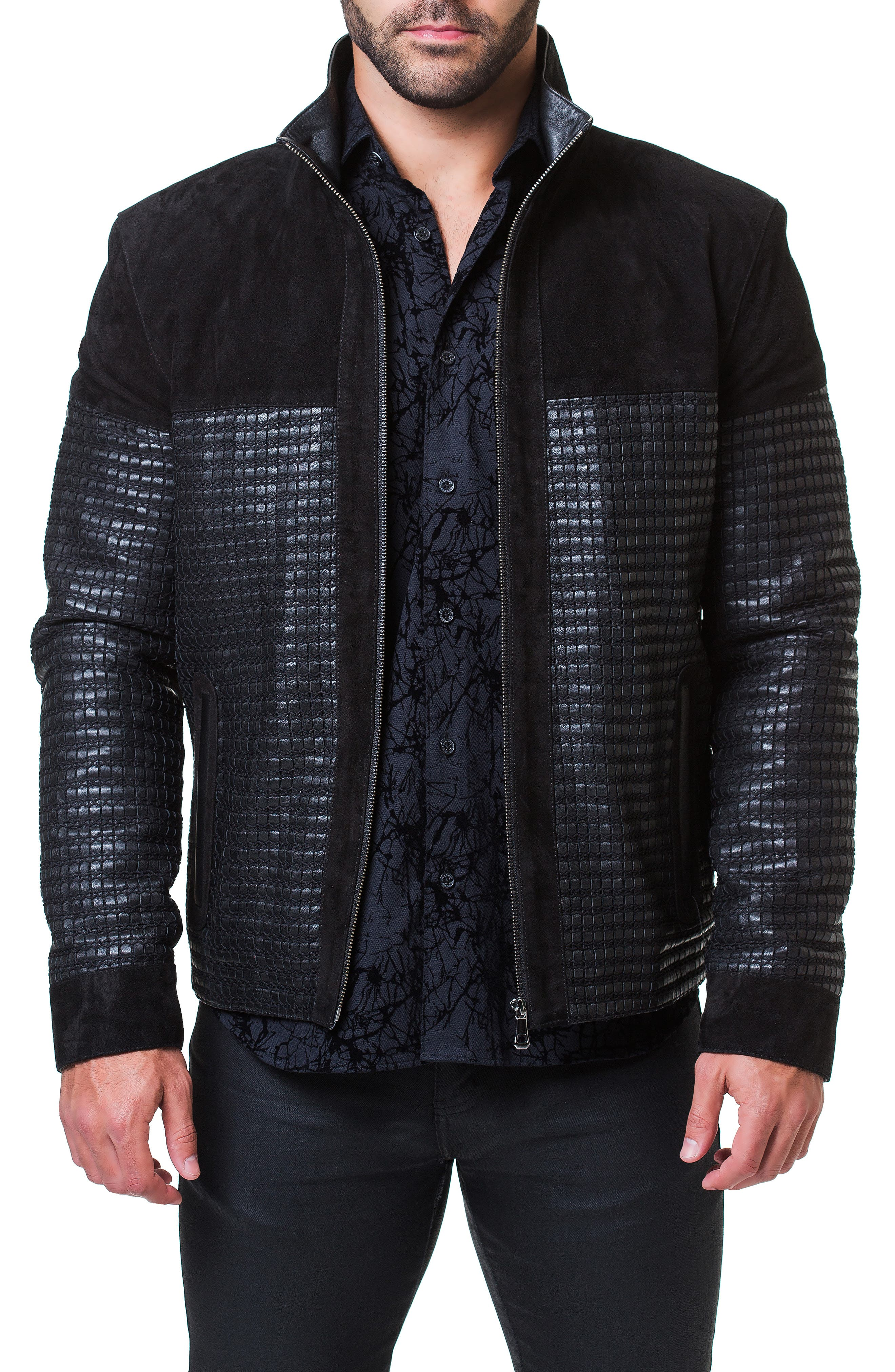 Maceoo Mosaic Leather & Suede Jacket, Black