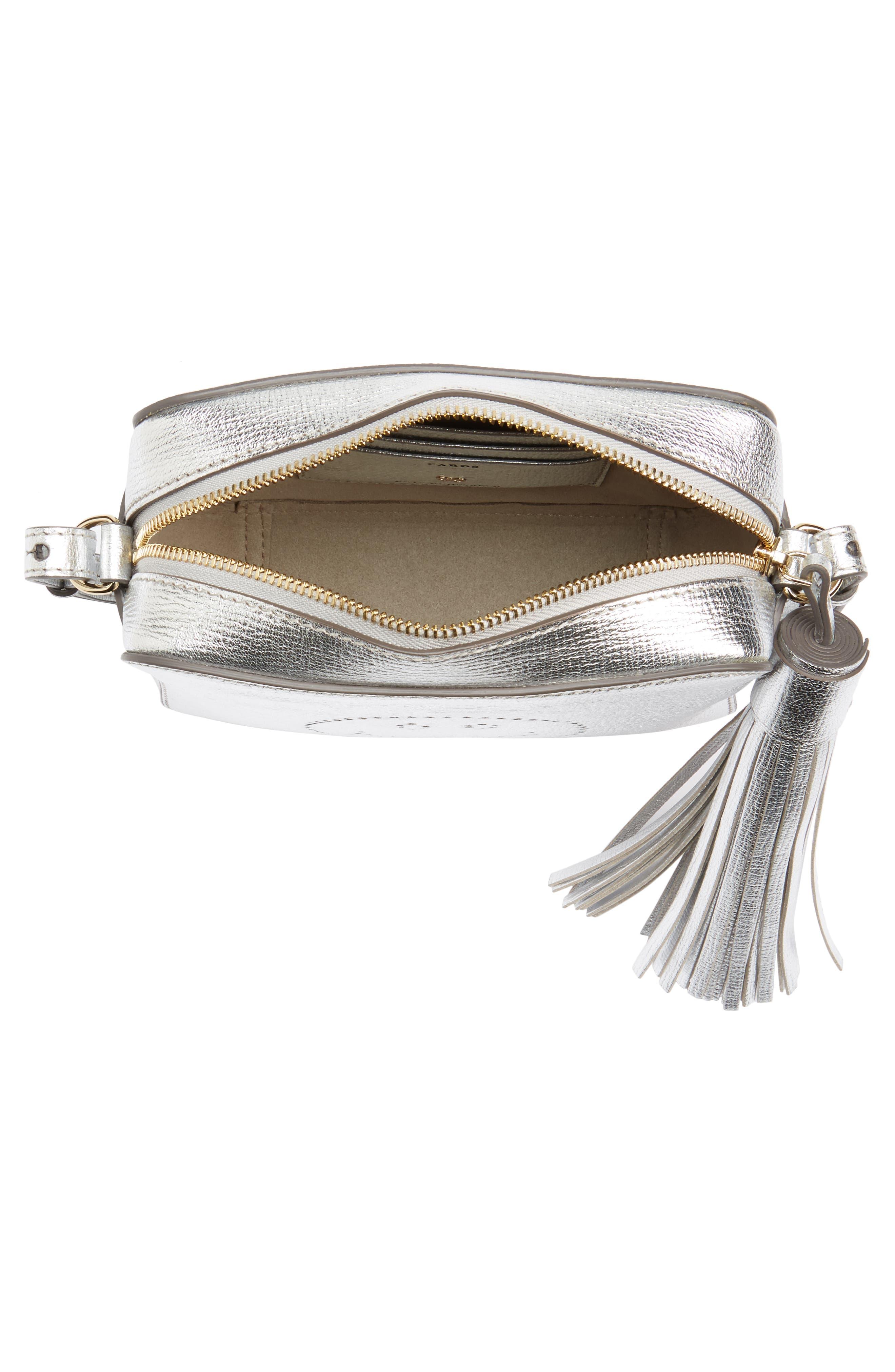 Smiley Metallic Leather Crossbody Bag,                             Alternate thumbnail 4, color,                             SILVER