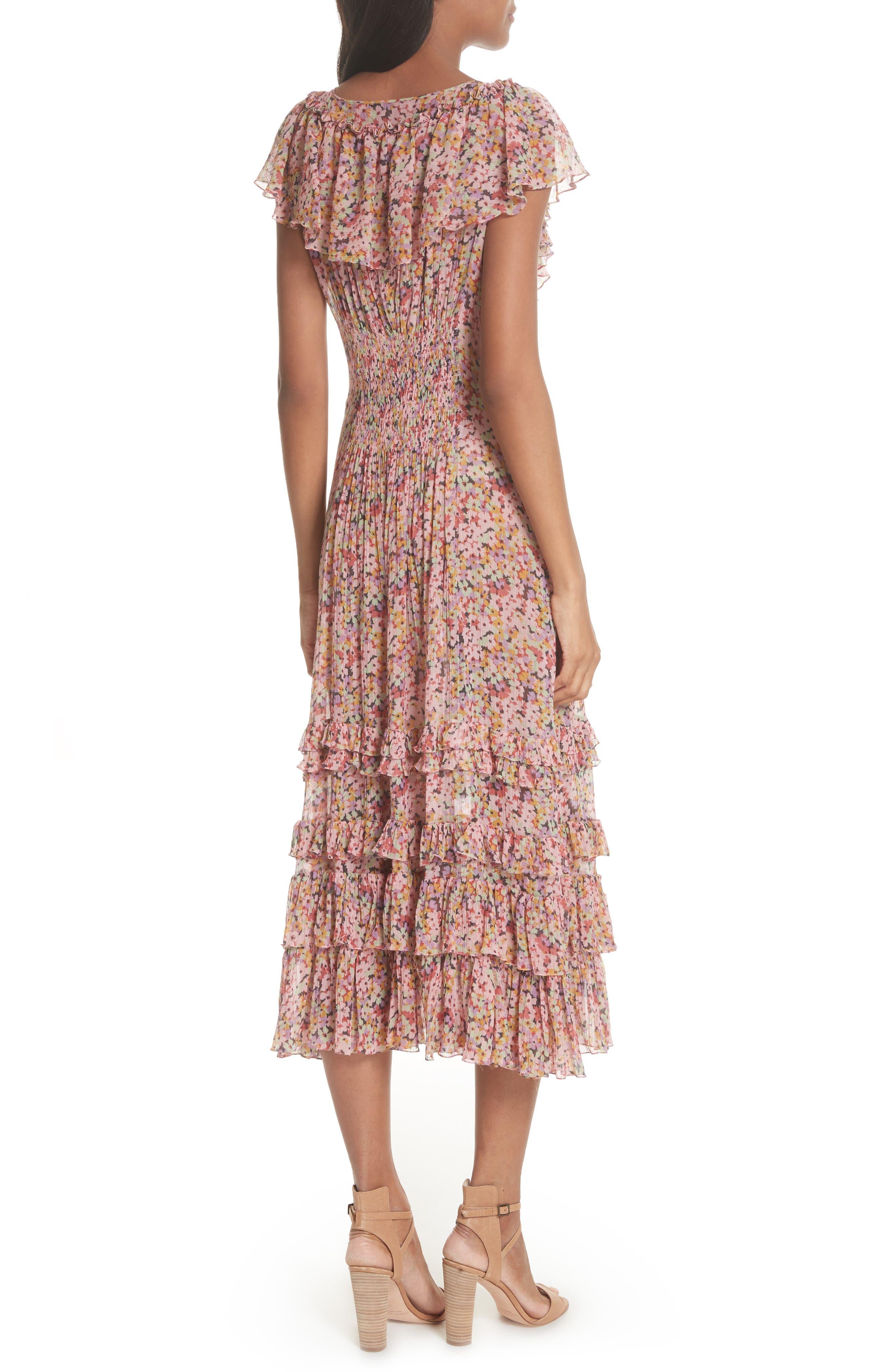 Margo Floral Ruffled Midi Dress,                             Alternate thumbnail 2, color,                             686
