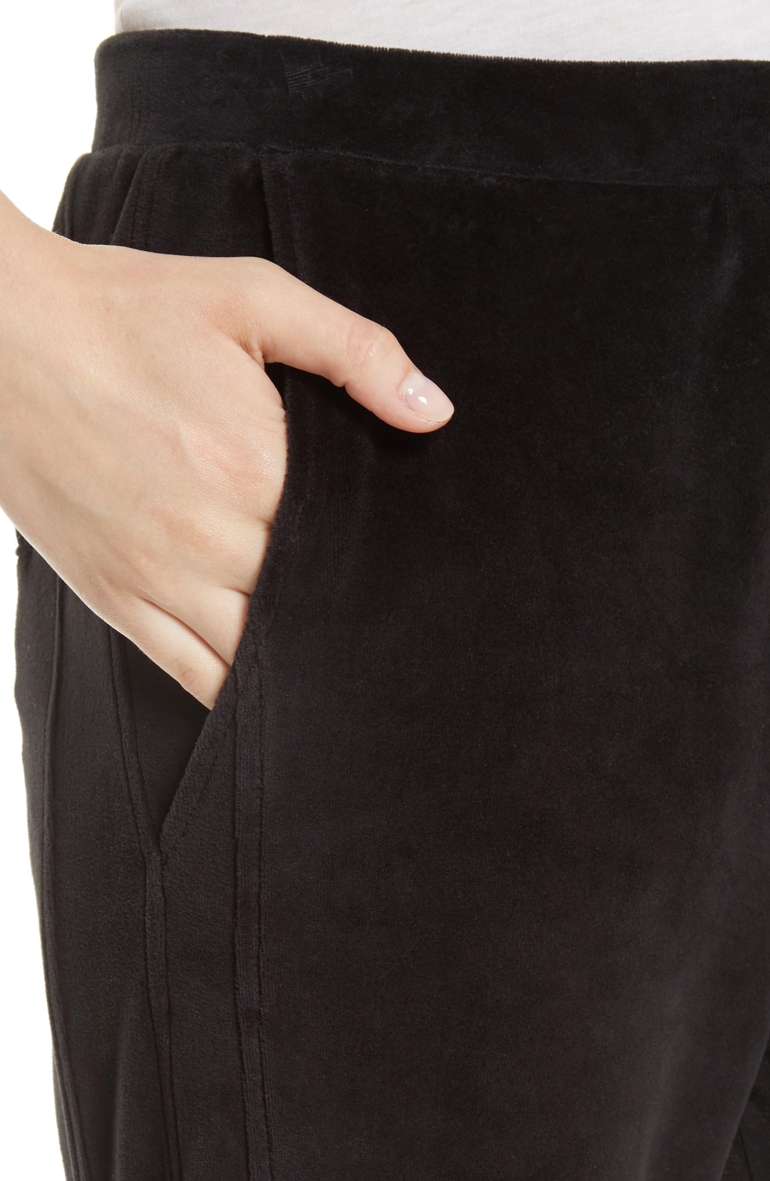 Velour Cuffed Jogger Pants,                             Alternate thumbnail 4, color,                             001