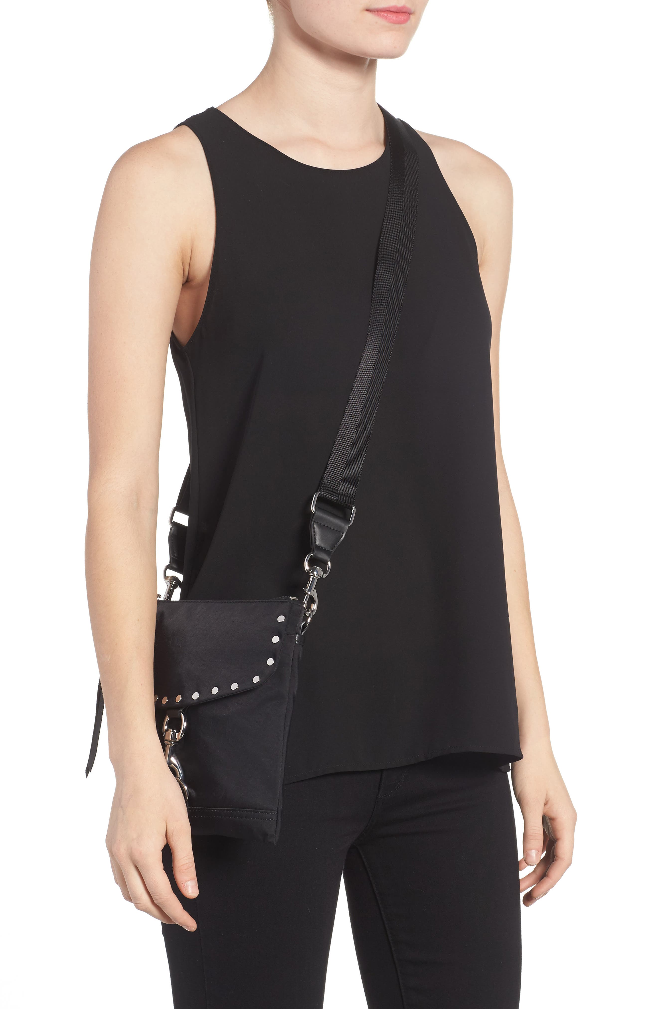 Nylon Flap Crossbody Bag,                             Alternate thumbnail 2, color,                             BLACK