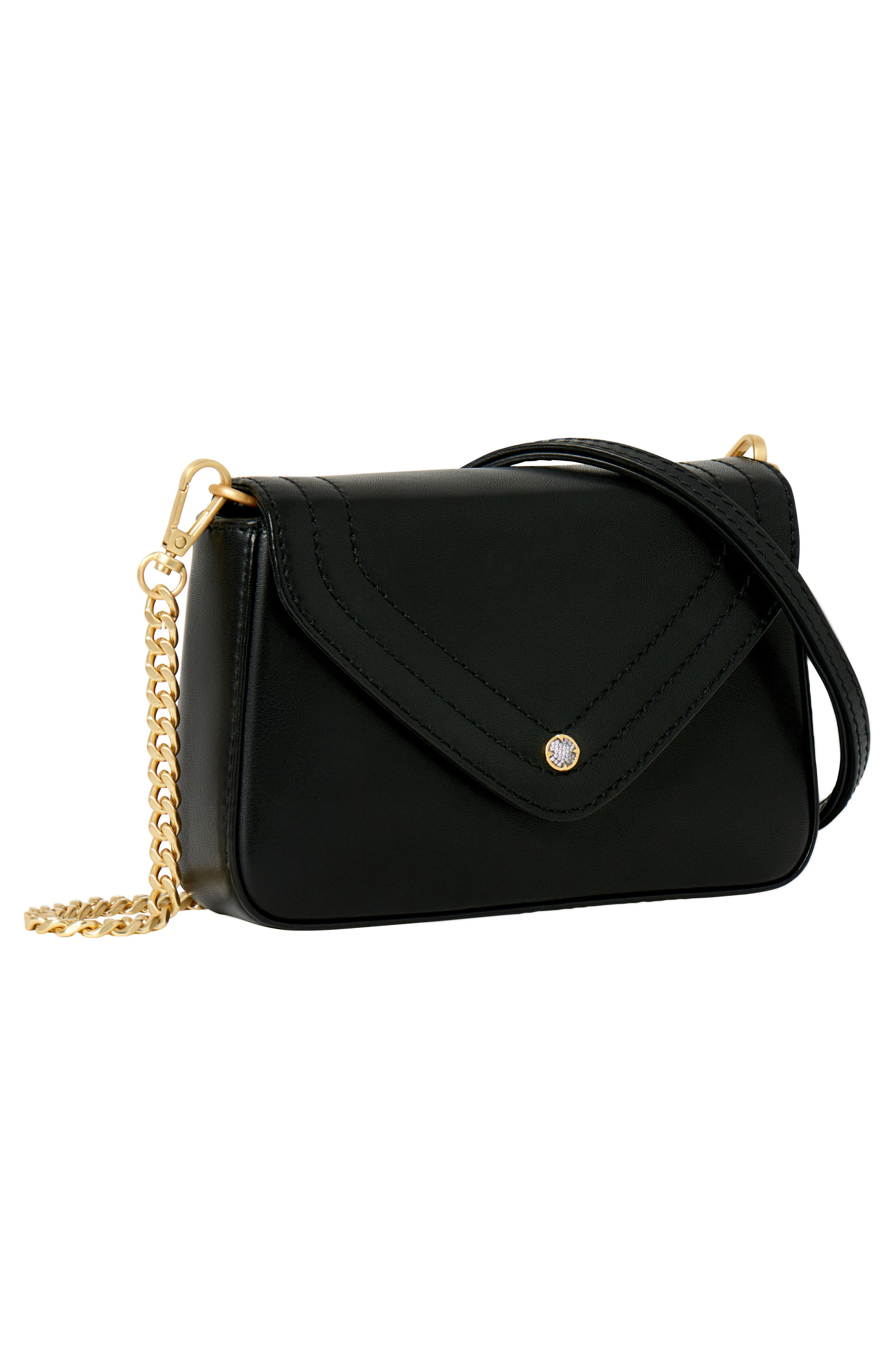 Maiden Leather Crossbody Bag,                             Alternate thumbnail 3, color,                             BLACK