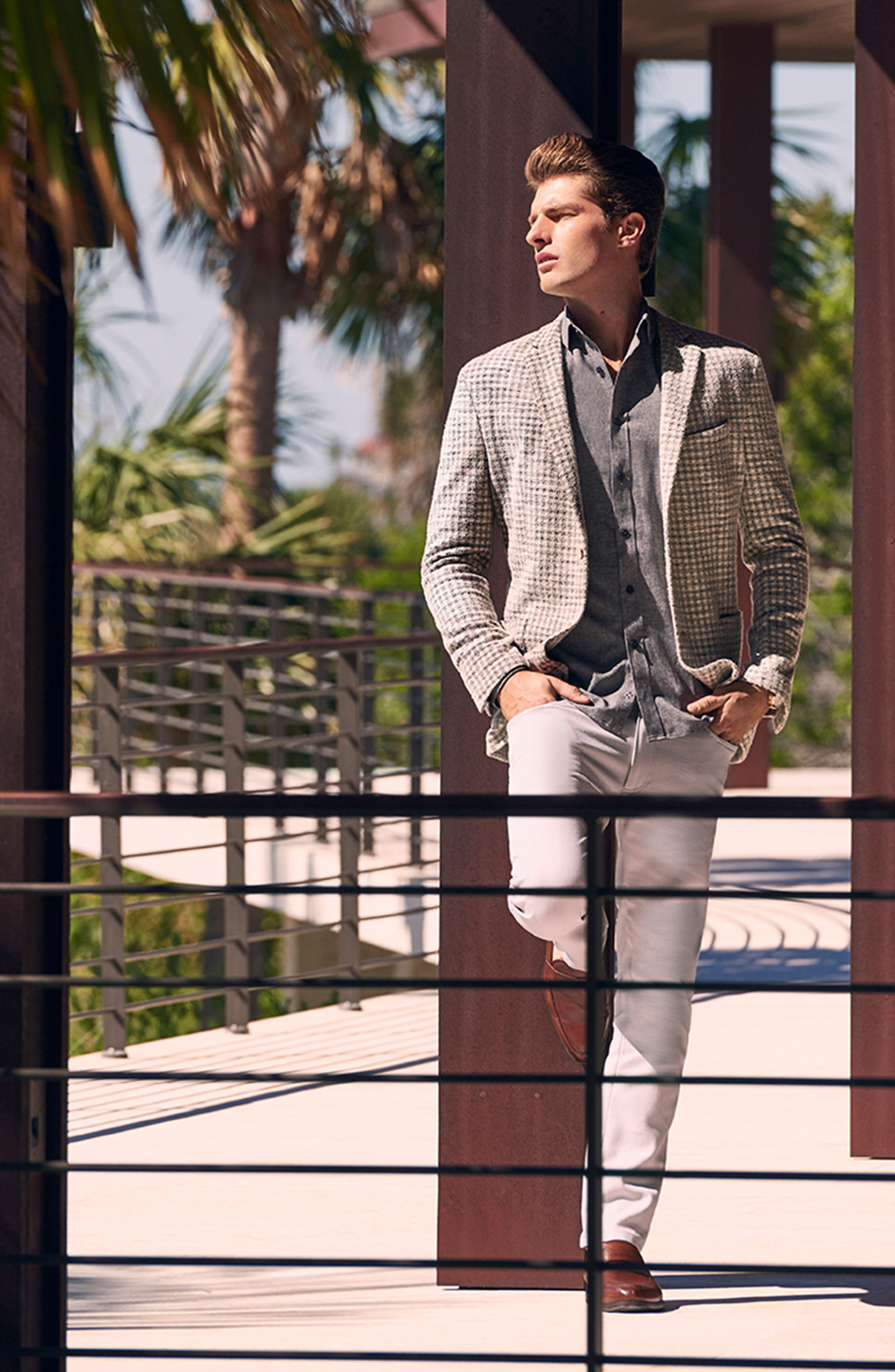 Dell Aria Unconstructed Blazer,                             Alternate thumbnail 7, color,                             GREY CREAM CHECK BOUCLE