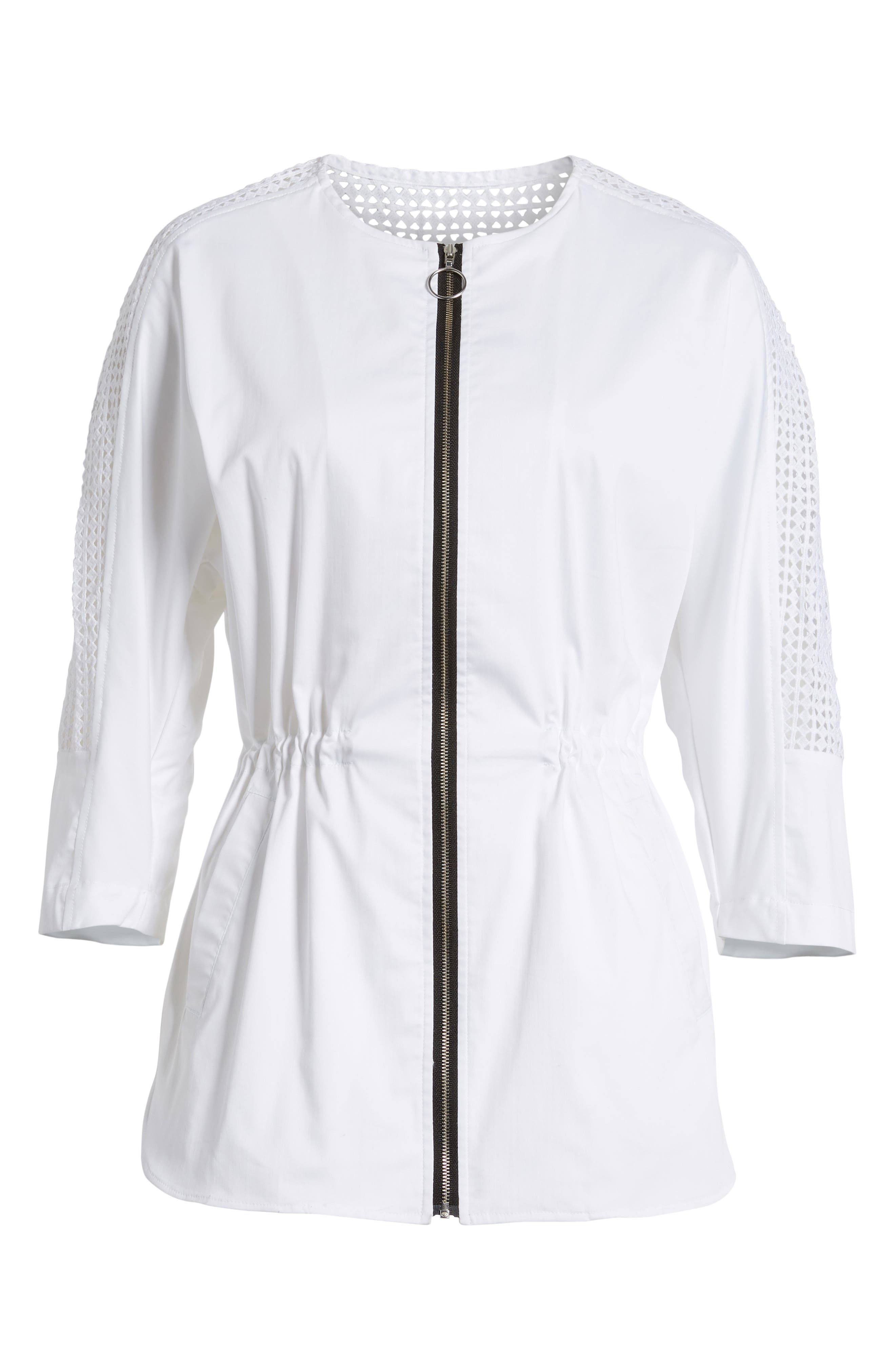 Eyelet Sleeve Front Zip Jacket,                             Alternate thumbnail 5, color,                             WHITE/ BLACK